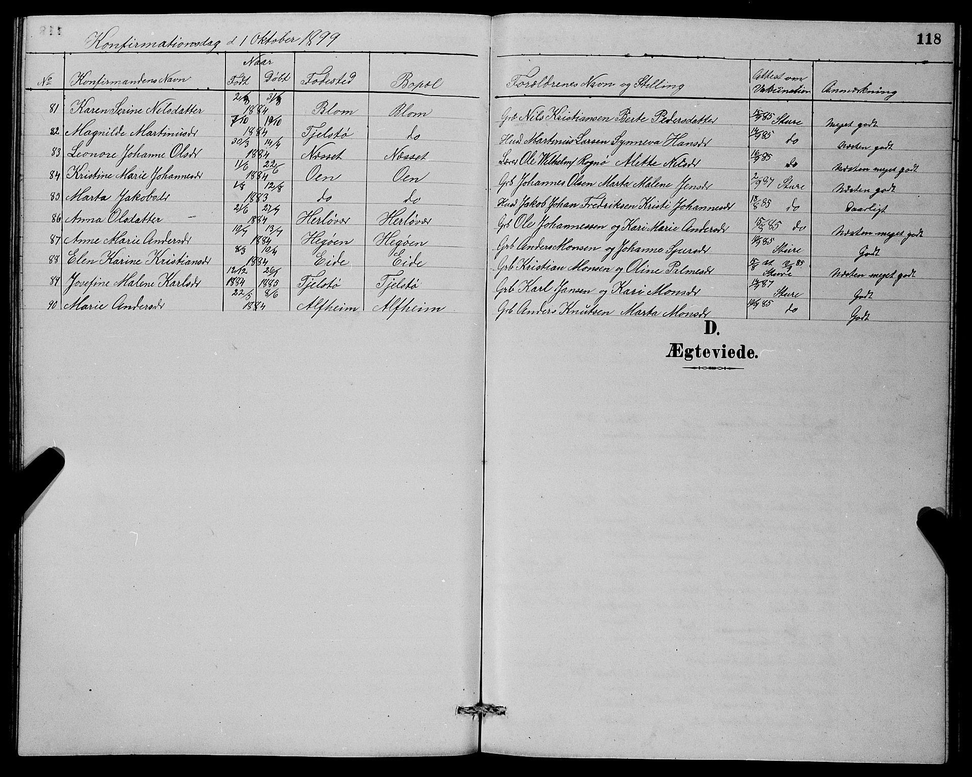 SAB, Herdla Sokneprestembete, H/Hab: Klokkerbok nr. A 3, 1889-1899, s. 118