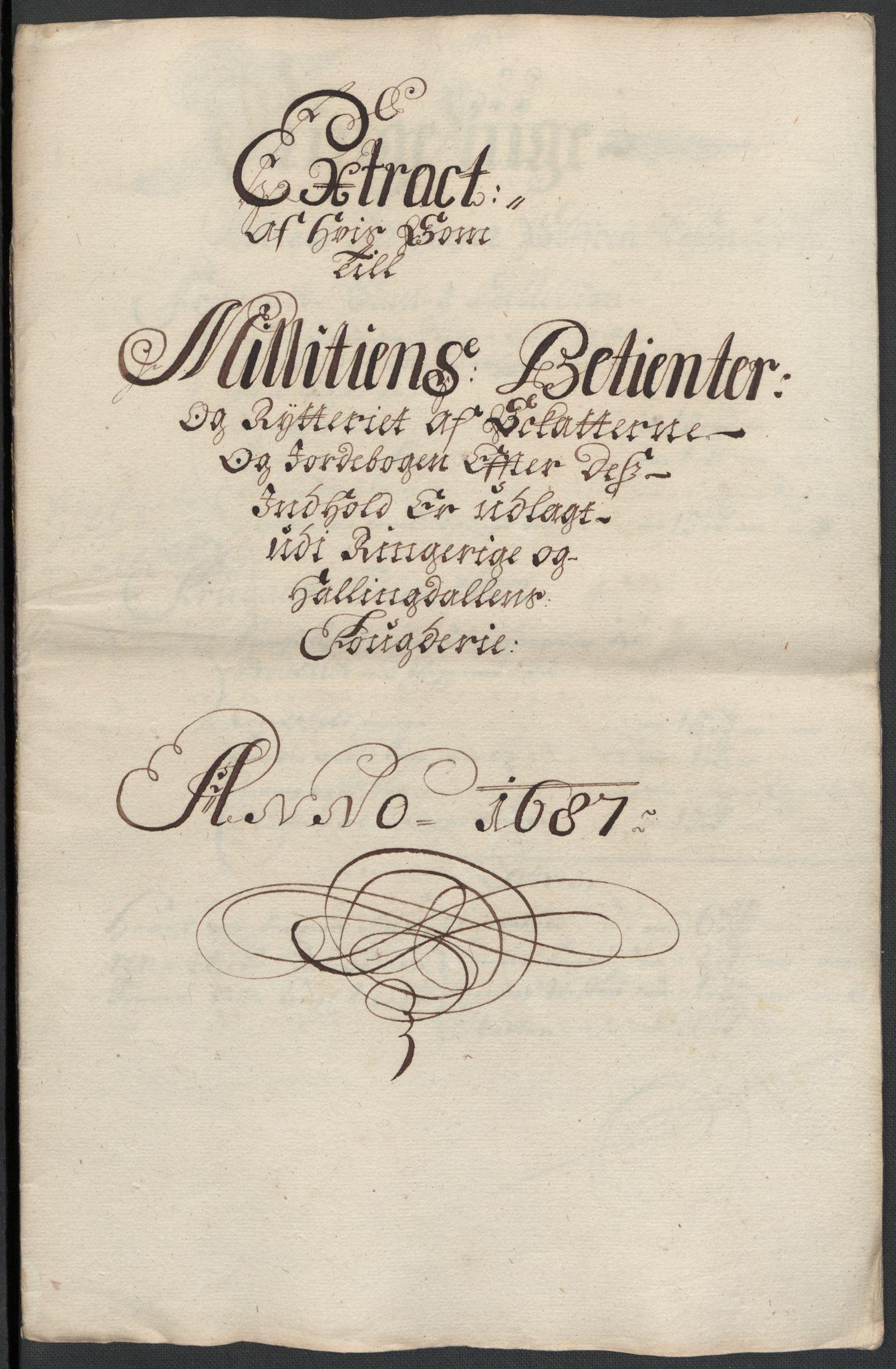 RA, Rentekammeret inntil 1814, Reviderte regnskaper, Fogderegnskap, R21/L1447: Fogderegnskap Ringerike og Hallingdal, 1687-1689, s. 110