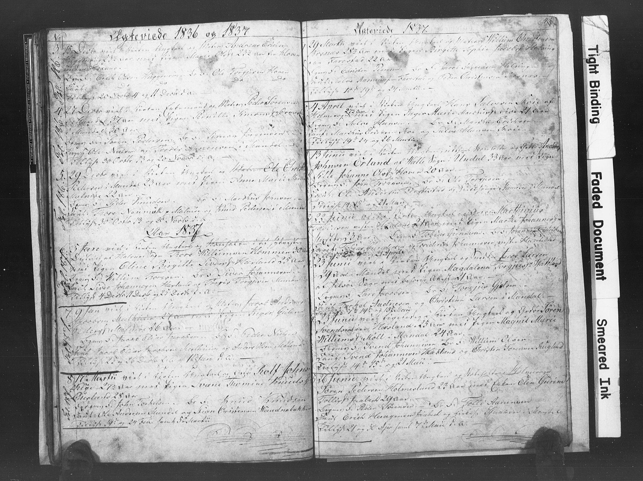 SAK, Mandal sokneprestkontor, F/Fb/Fba/L0003: Klokkerbok nr. B 1C, 1834-1838, s. 45