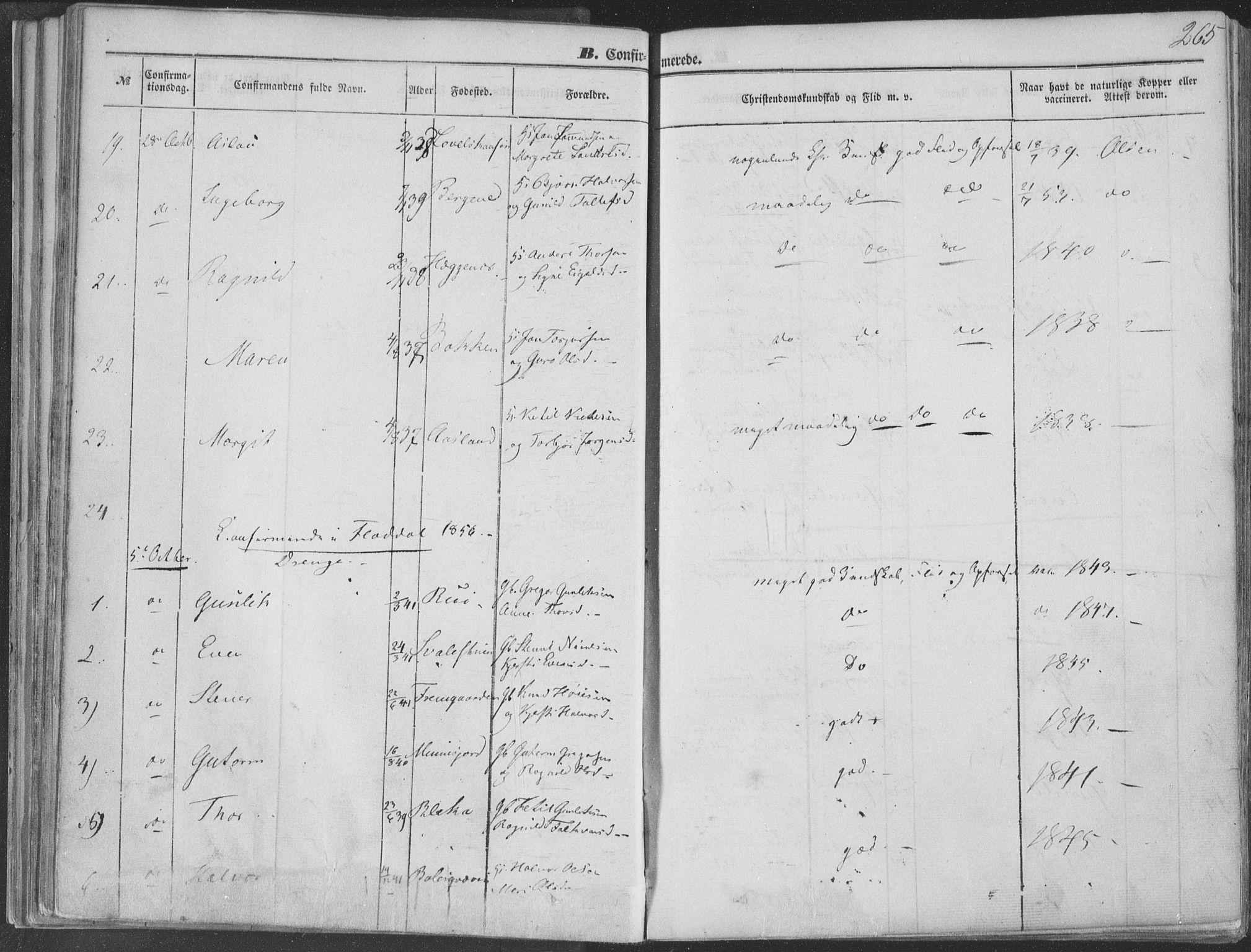 SAKO, Seljord kirkebøker, F/Fa/L012b: Ministerialbok nr. I 12B, 1850-1865, s. 265