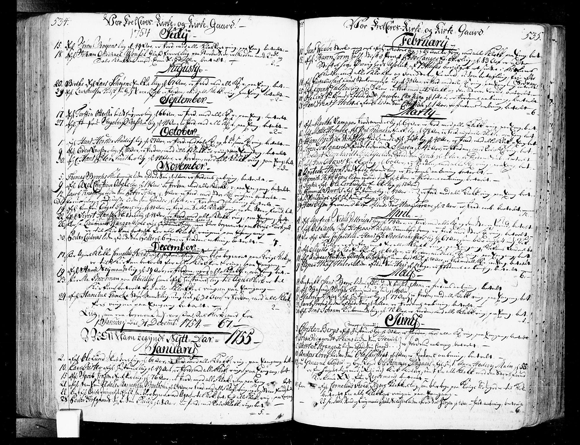 SAO, Oslo domkirke Kirkebøker, F/Fa/L0004: Ministerialbok nr. 4, 1743-1786, s. 534-535