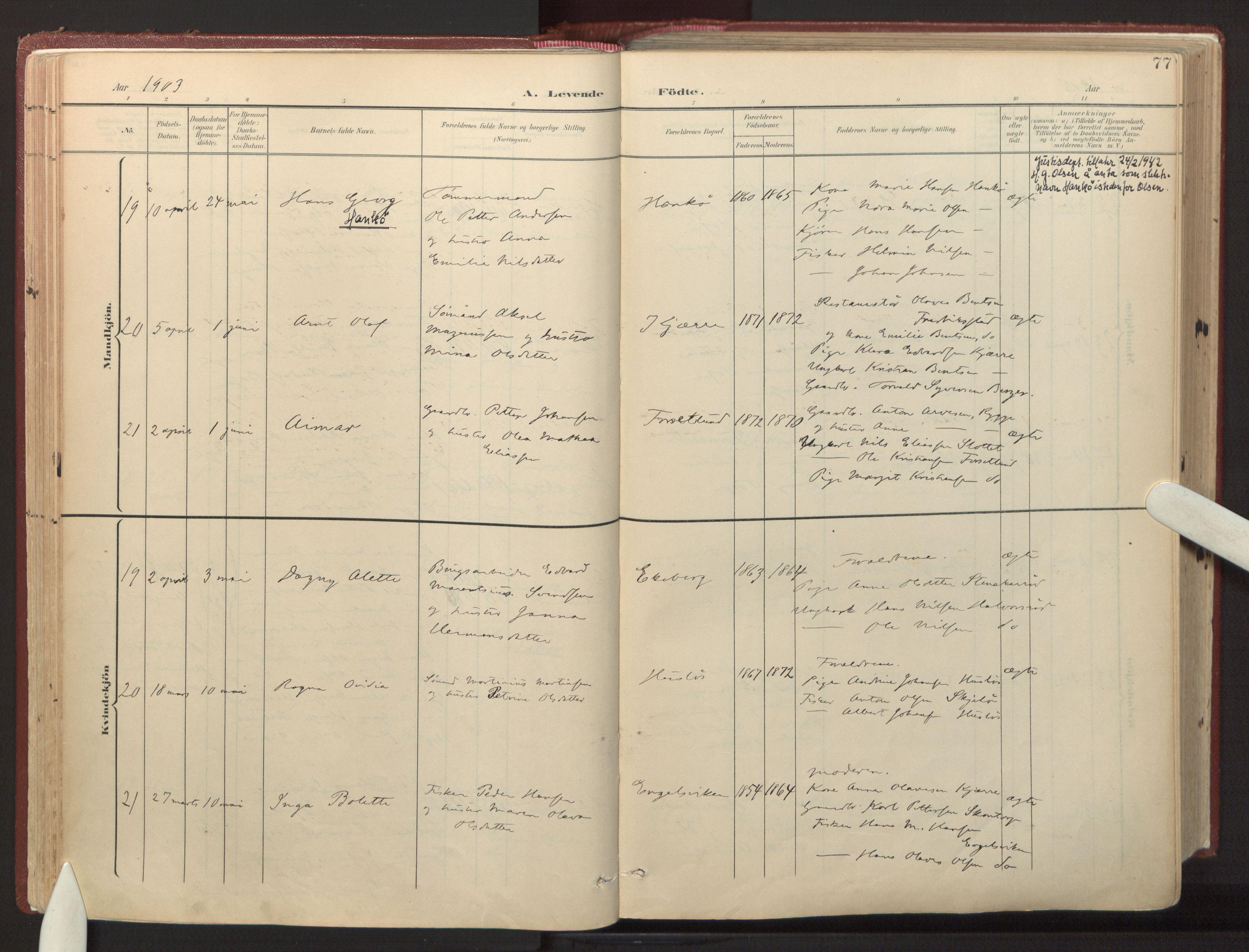 SAO, Onsøy prestekontor Kirkebøker, F/Fa: Ministerialbok nr. I 8, 1899-1923, s. 77