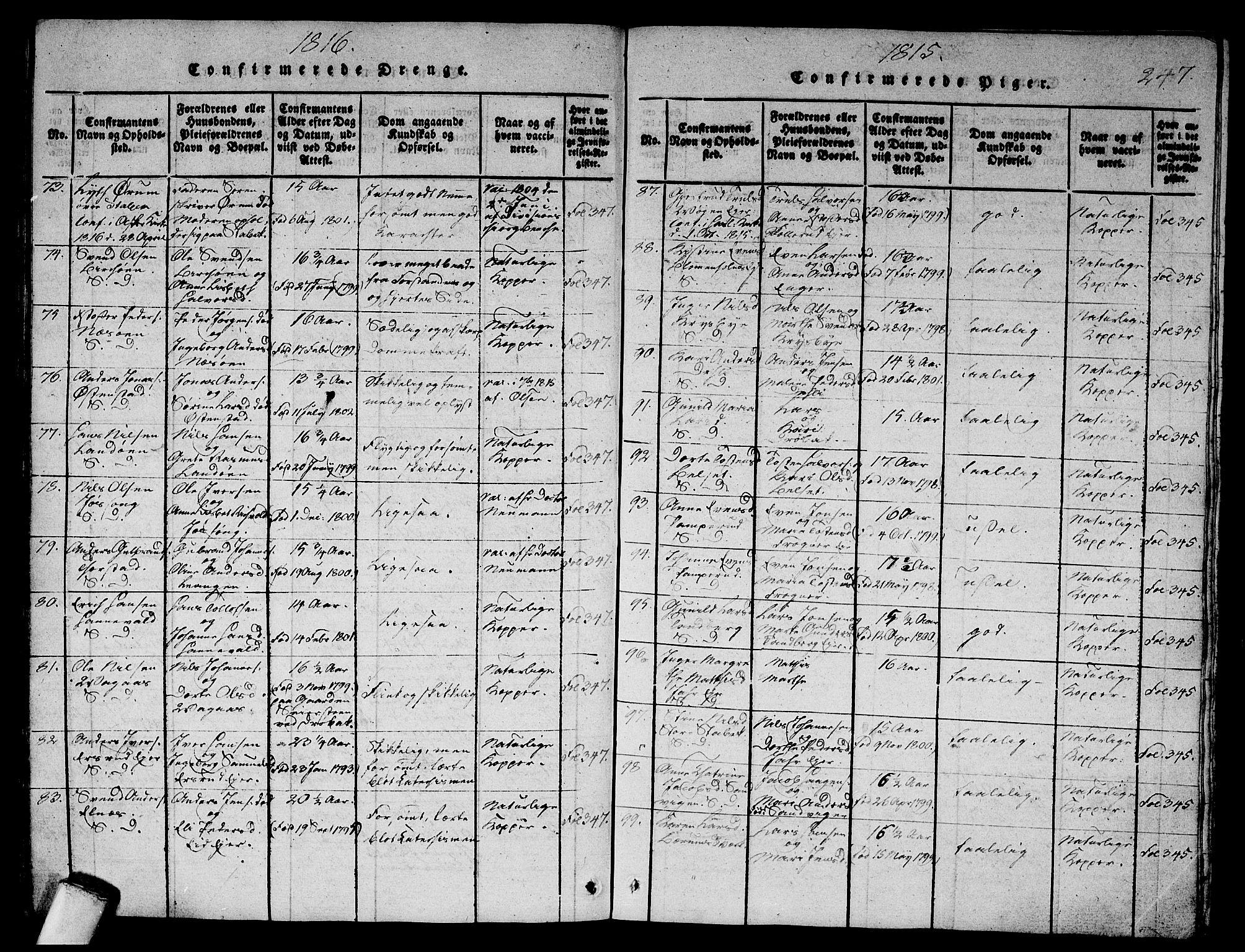 SAO, Asker prestekontor Kirkebøker, G/Ga/L0001: Klokkerbok nr. I 1, 1814-1830, s. 247