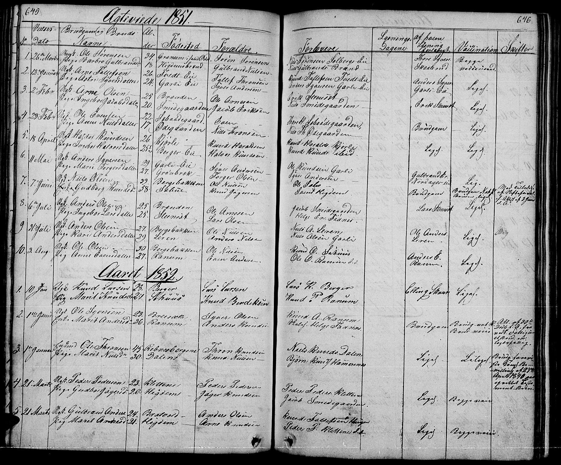 SAH, Nord-Aurdal prestekontor, Klokkerbok nr. 1, 1834-1887, s. 645-646