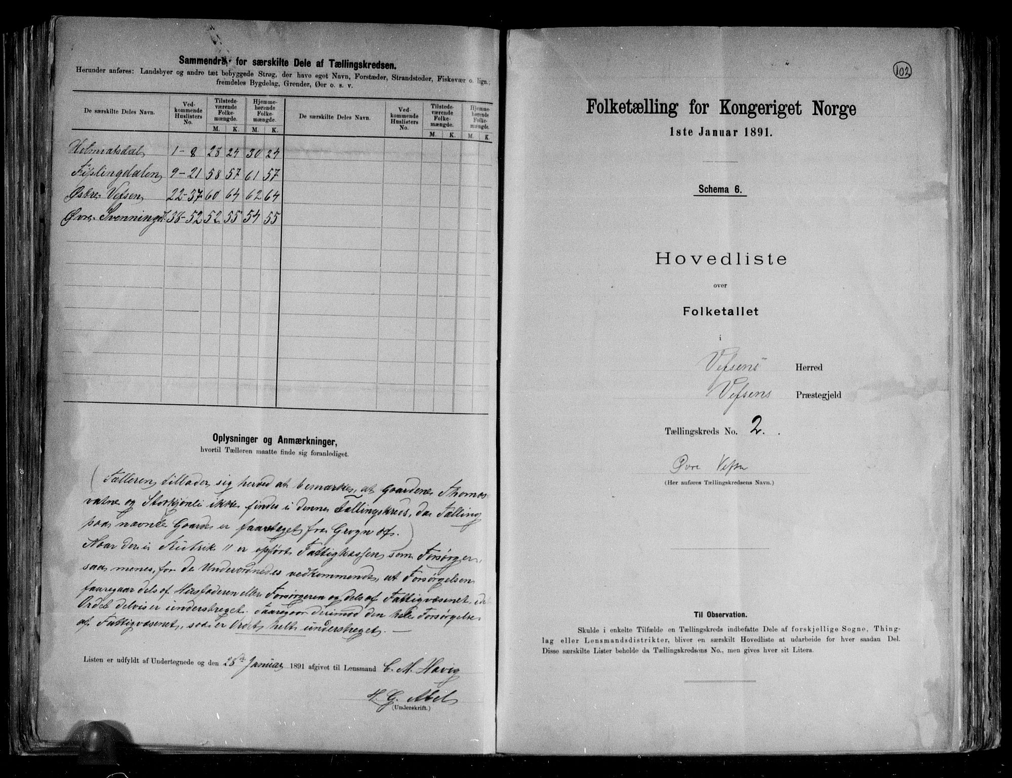 RA, Folketelling 1891 for 1824 Vefsn herred, 1891, s. 6