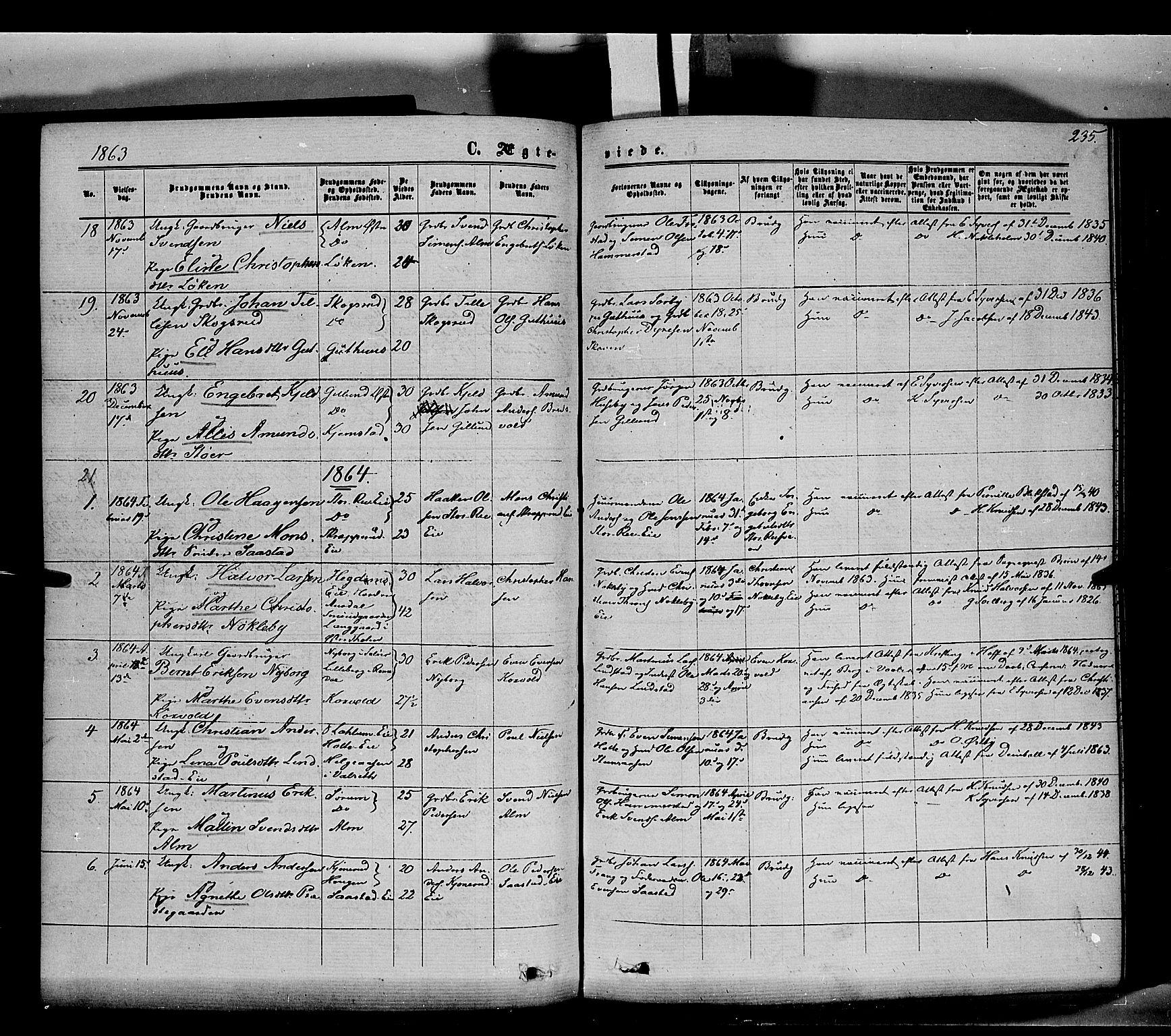 SAH, Stange prestekontor, K/L0013: Ministerialbok nr. 13, 1862-1879, s. 235