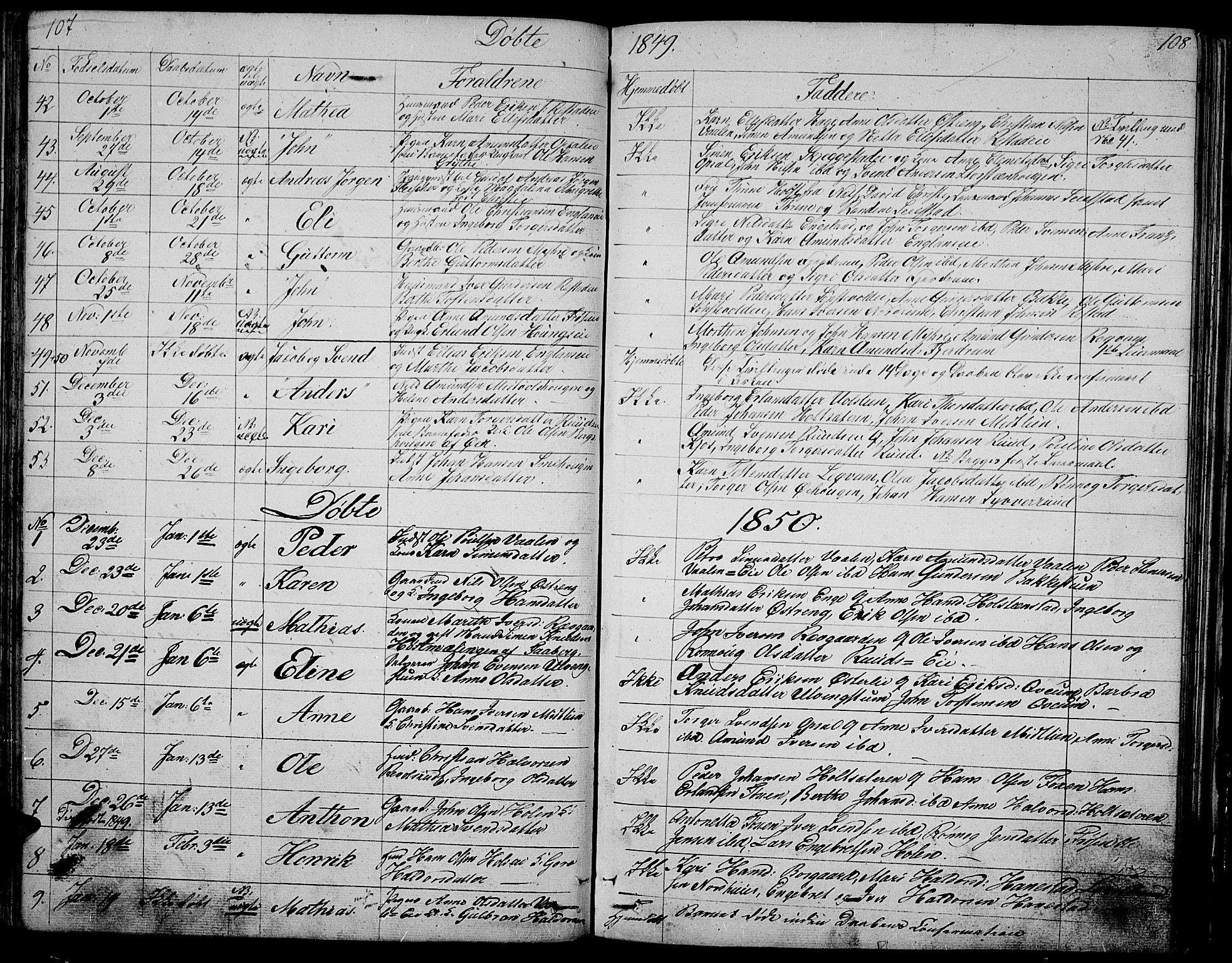 SAH, Gausdal prestekontor, Klokkerbok nr. 3, 1829-1864, s. 107-108