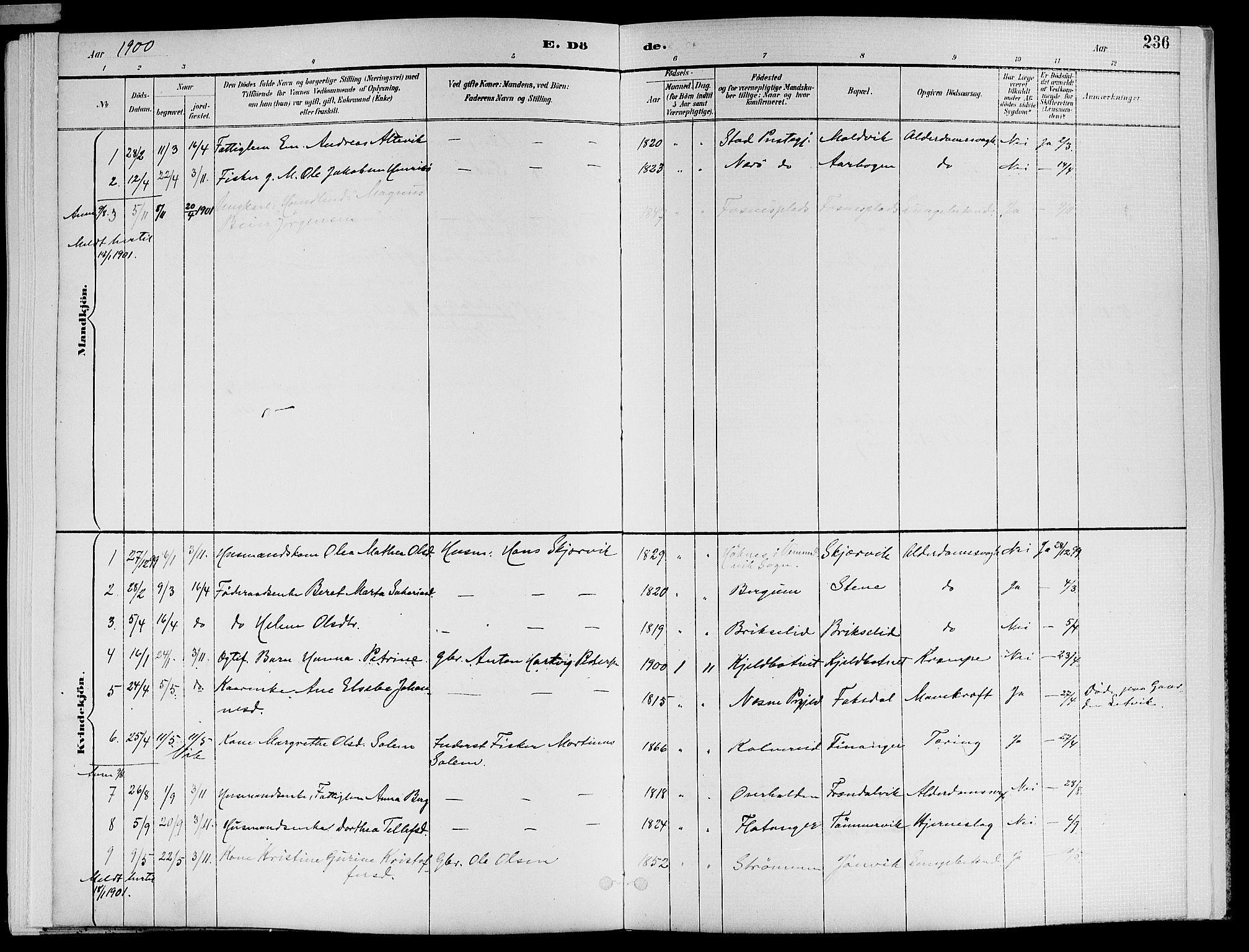 SAT, Ministerialprotokoller, klokkerbøker og fødselsregistre - Nord-Trøndelag, 773/L0617: Ministerialbok nr. 773A08, 1887-1910, s. 236