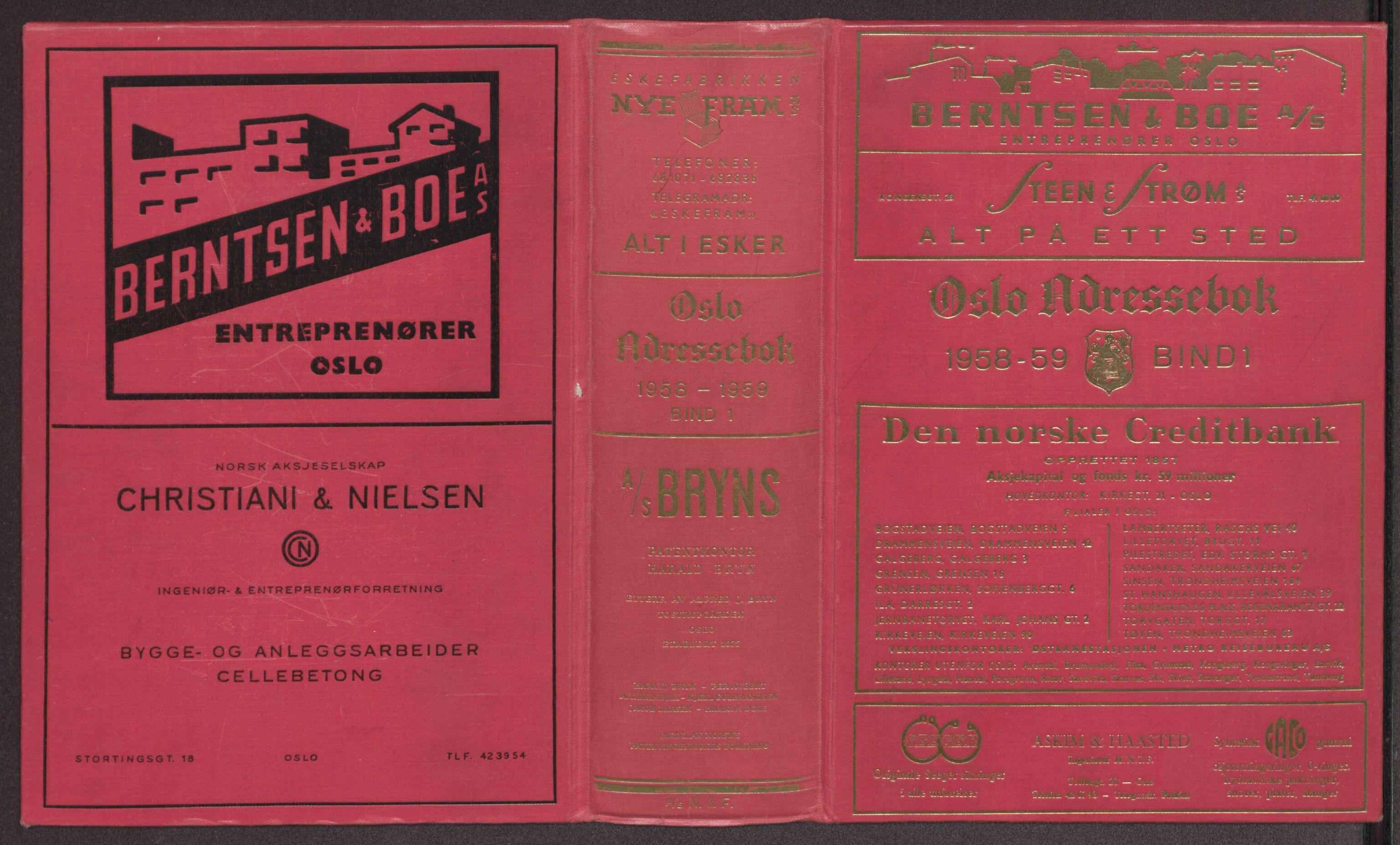 PUBL, Kristiania/Oslo adressebok, 1958-1959