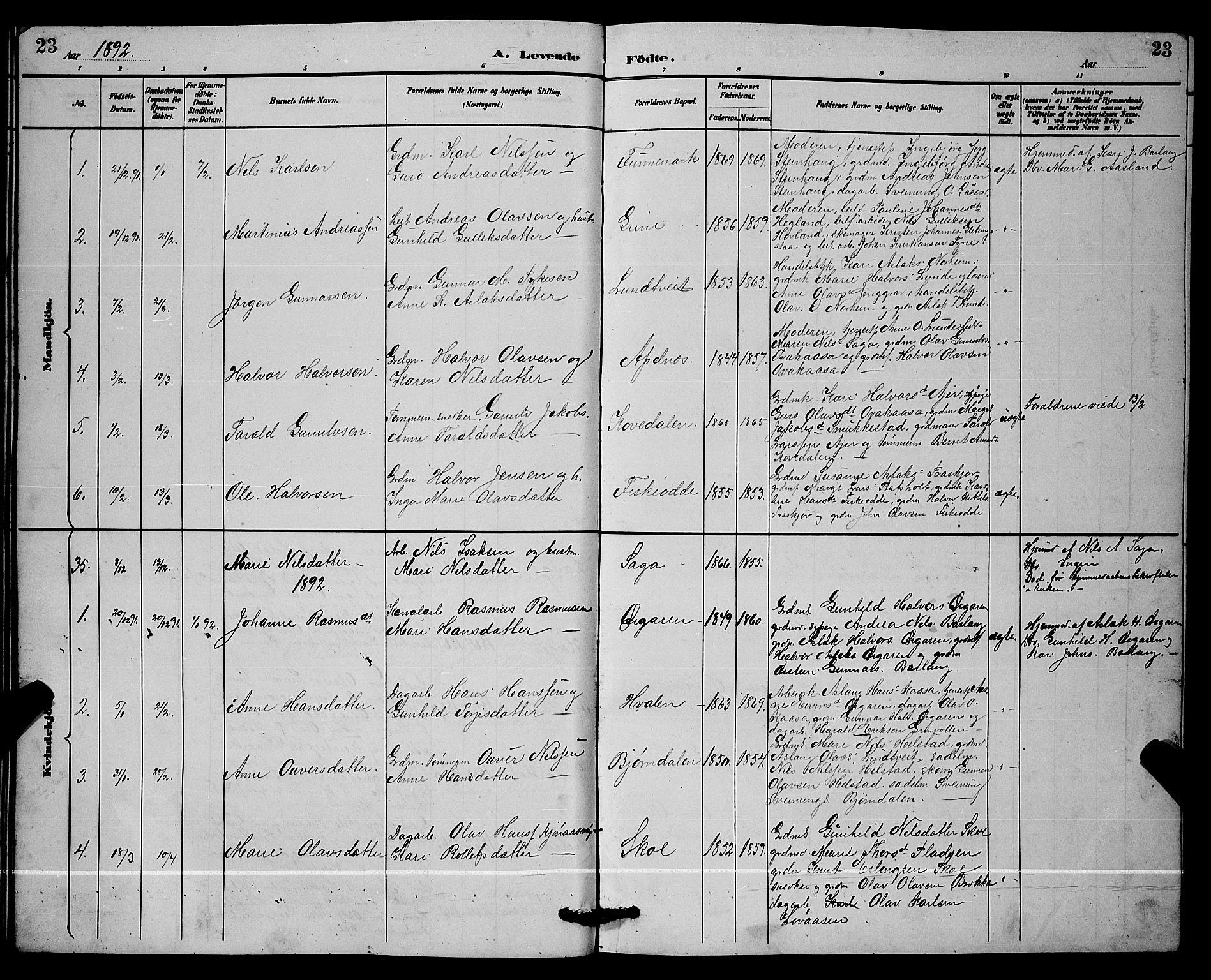SAKO, Lunde kirkebøker, G/Ga/L0002: Klokkerbok nr. I 2, 1887-1896, s. 23