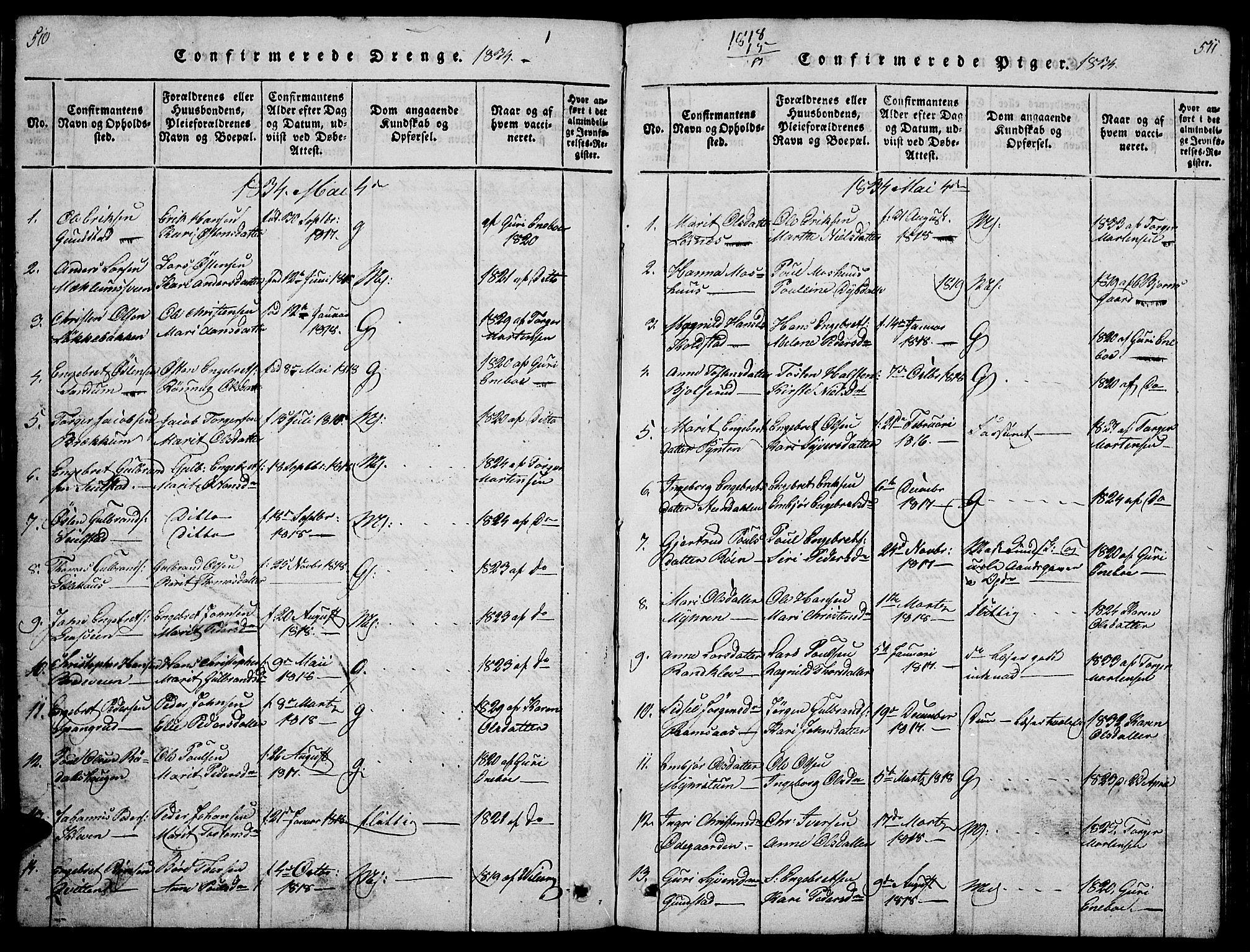 SAH, Ringebu prestekontor, Klokkerbok nr. 1, 1821-1839, s. 510-511