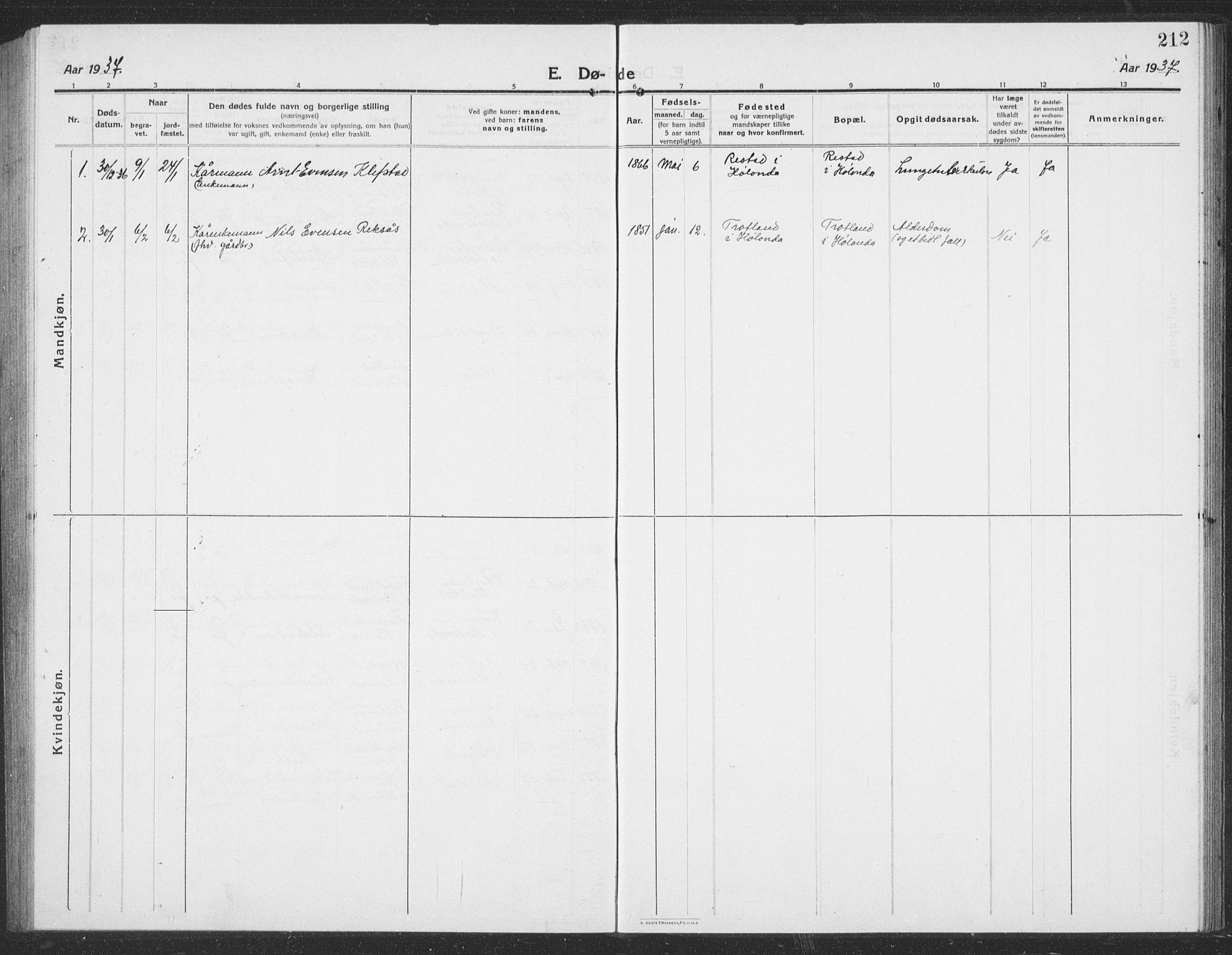 SAT, Ministerialprotokoller, klokkerbøker og fødselsregistre - Sør-Trøndelag, 694/L1134: Klokkerbok nr. 694C06, 1915-1937, s. 212