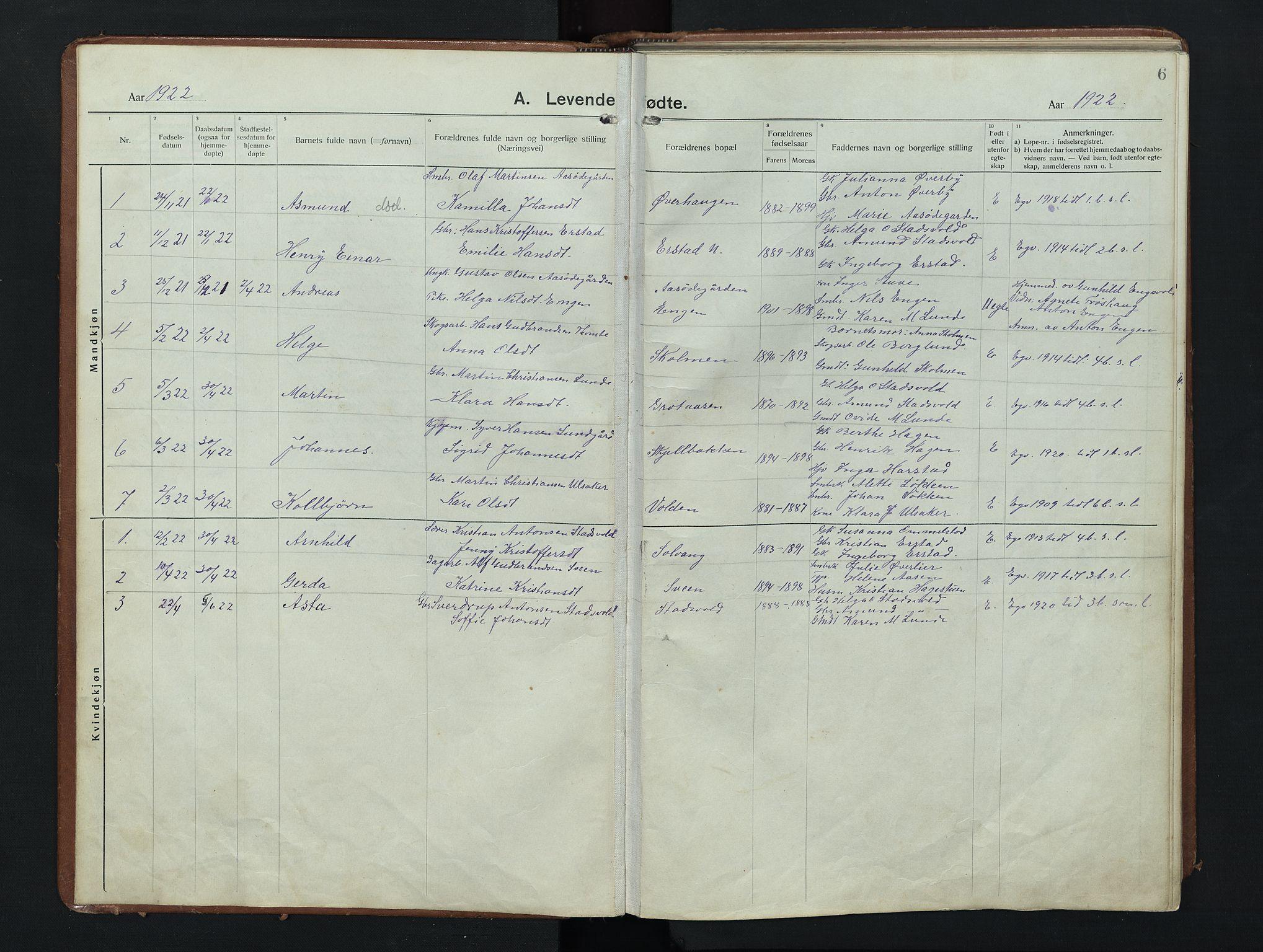 SAH, Nordre Land prestekontor, Klokkerbok nr. 9, 1921-1956, s. 6
