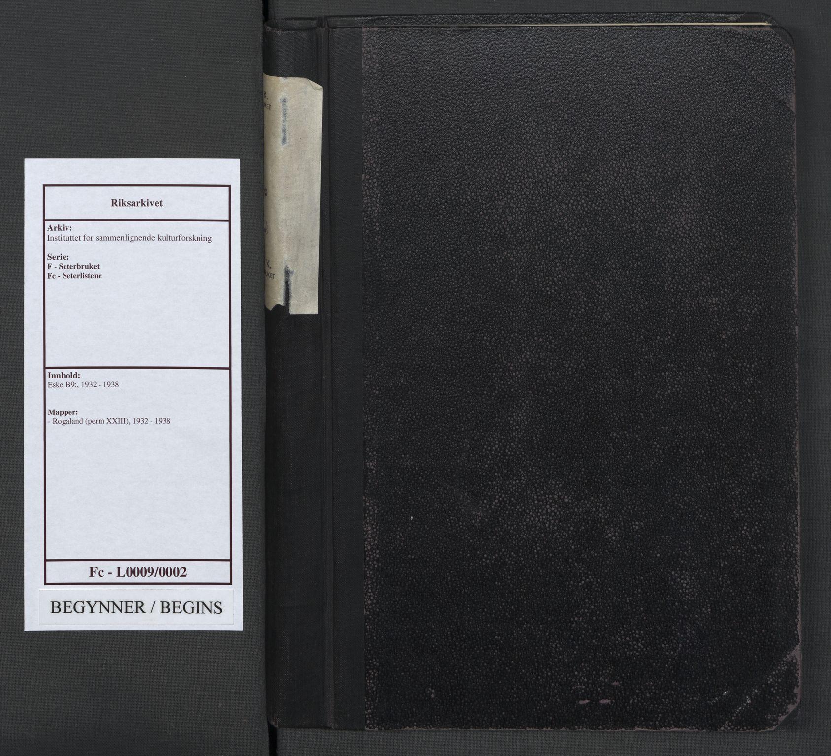 RA, Instituttet for sammenlignende kulturforskning, F/Fc/L0009: Eske B9:, 1932-1938, s. upaginert