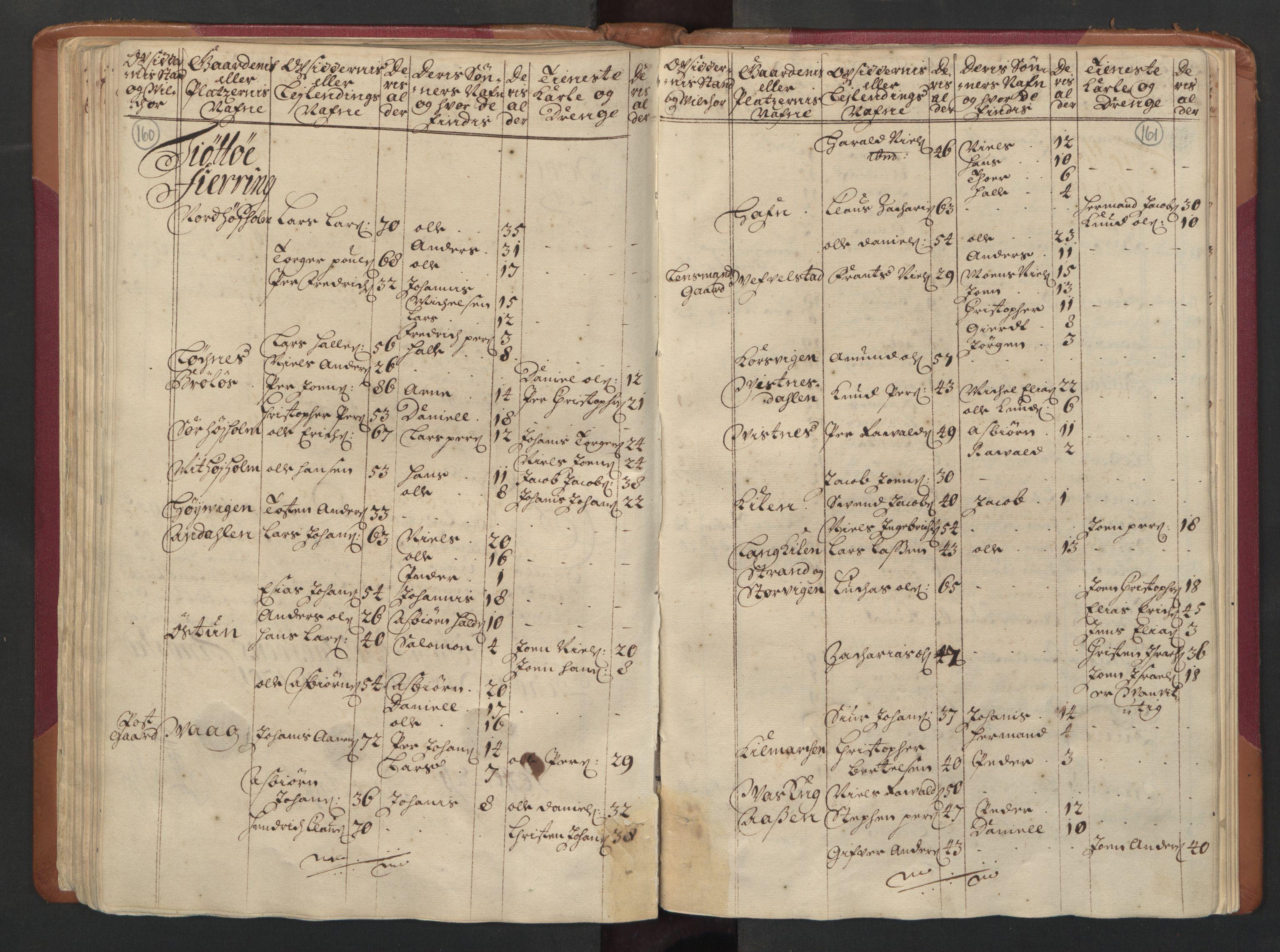 RA, Manntallet 1701, nr. 16: Helgeland fogderi, 1701, s. 160-161