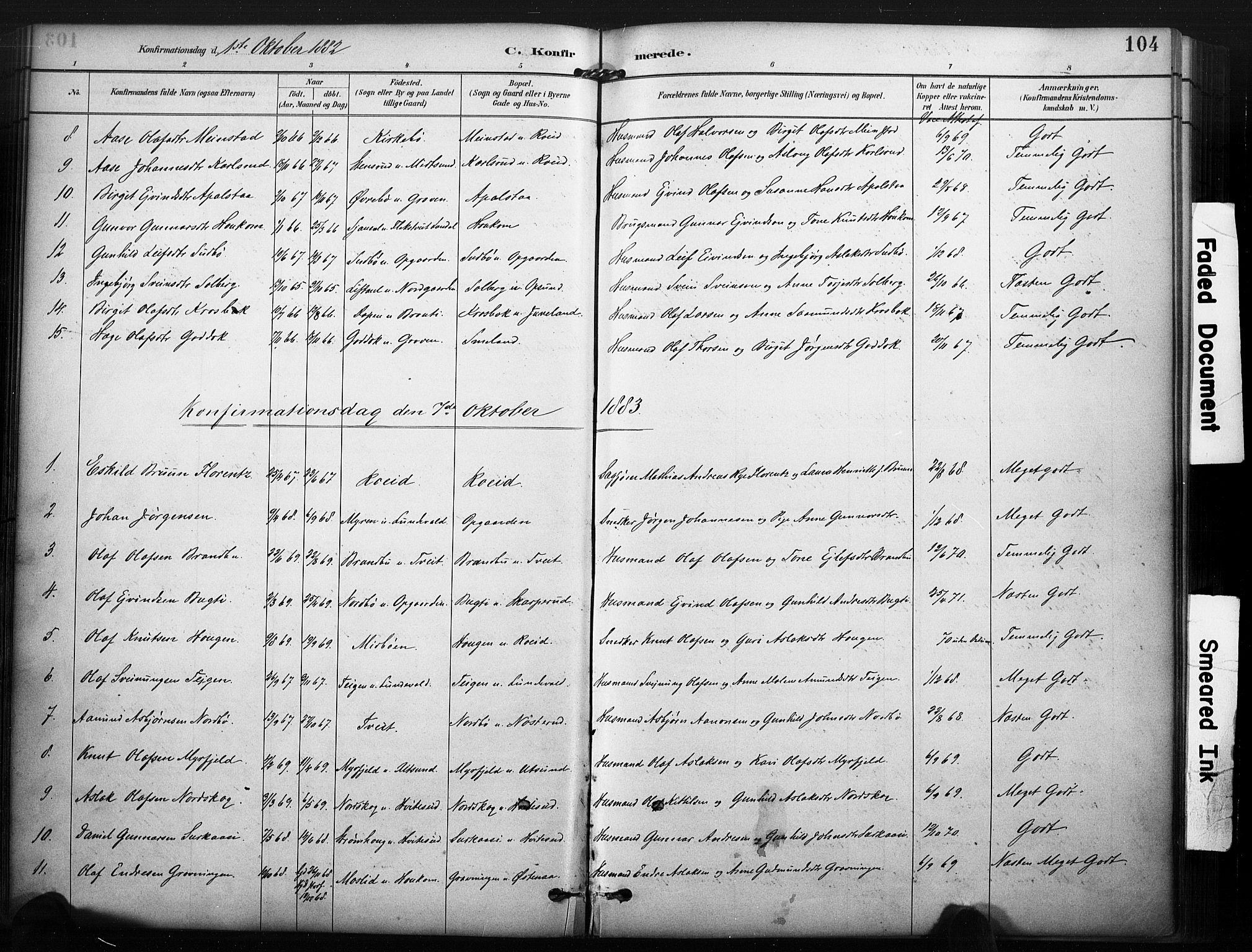 SAKO, Kviteseid kirkebøker, F/Fa/L0008: Ministerialbok nr. I 8, 1882-1903, s. 104