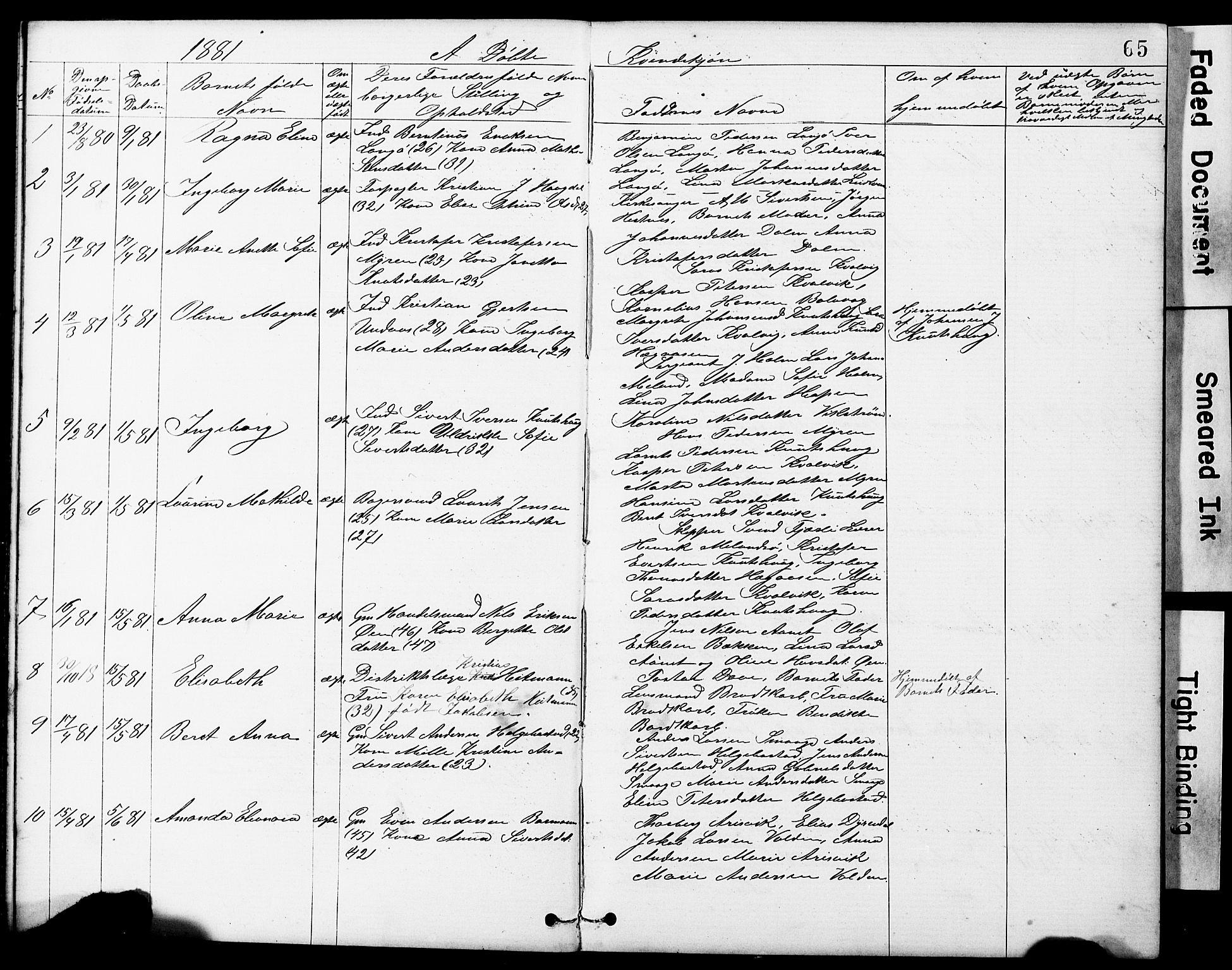 SAT, Ministerialprotokoller, klokkerbøker og fødselsregistre - Sør-Trøndelag, 634/L0541: Klokkerbok nr. 634C03, 1874-1891, s. 65