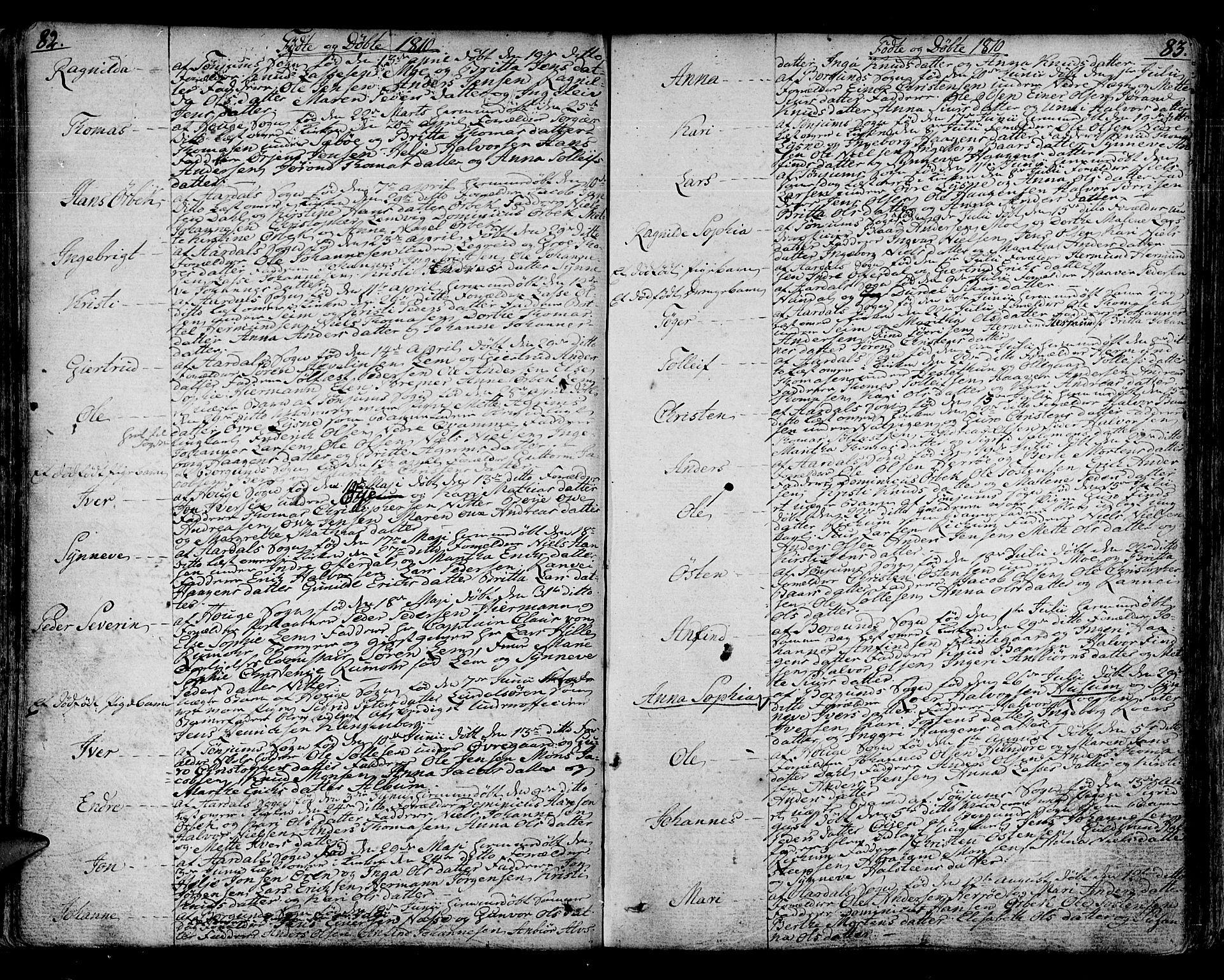 SAB, Lærdal sokneprestembete, Ministerialbok nr. A 4, 1805-1821, s. 82-83