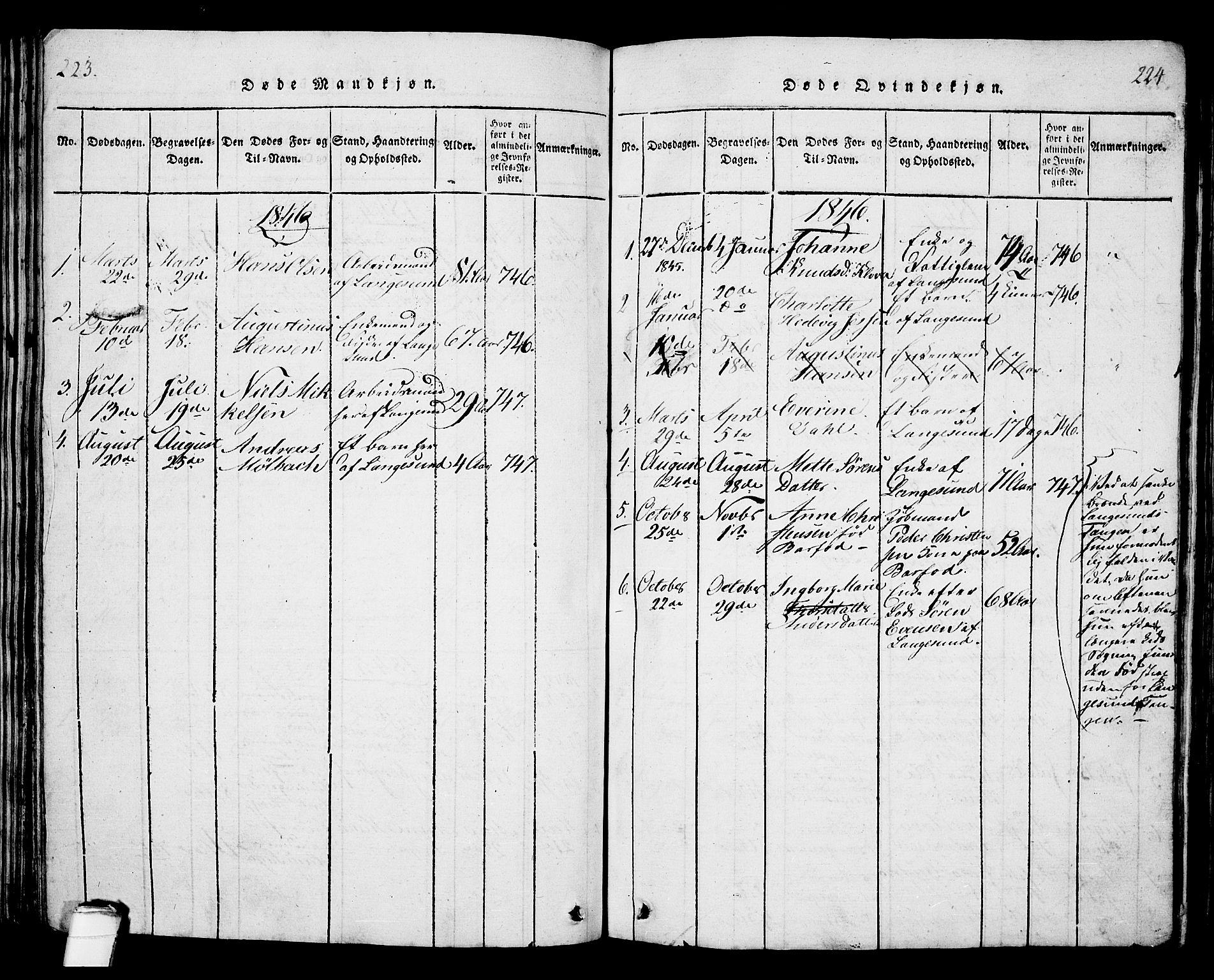 SAKO, Langesund kirkebøker, G/Ga/L0003: Klokkerbok nr. 3, 1815-1858, s. 223-224