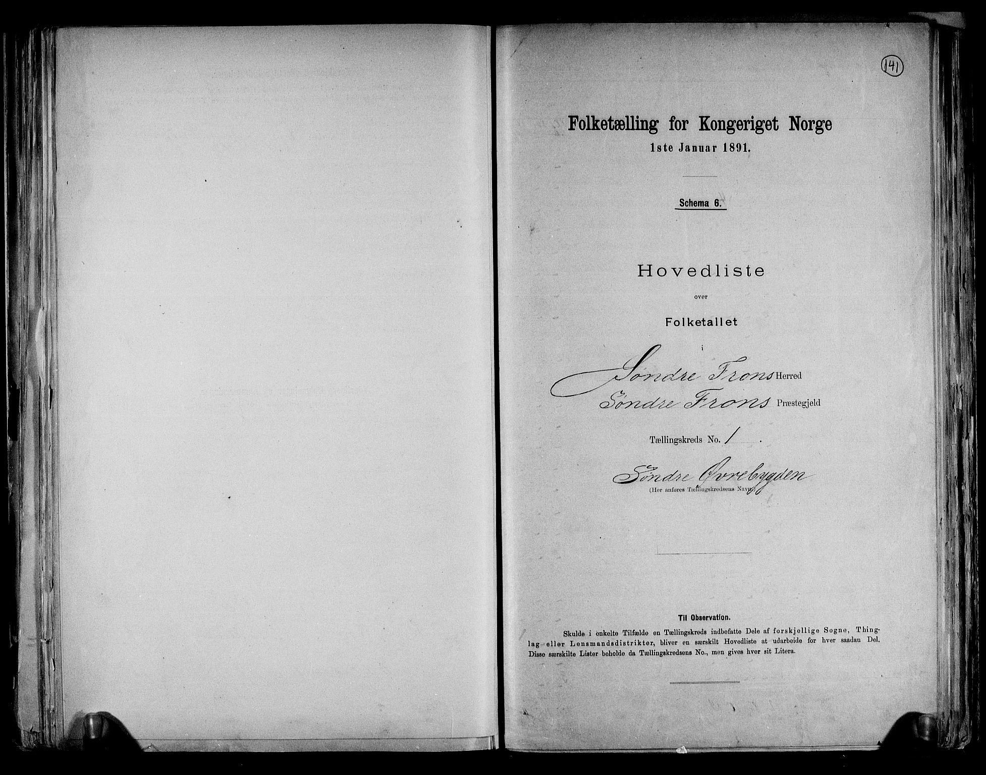 RA, Folketelling 1891 for 0519 Sør-Fron herred, 1891, s. 4