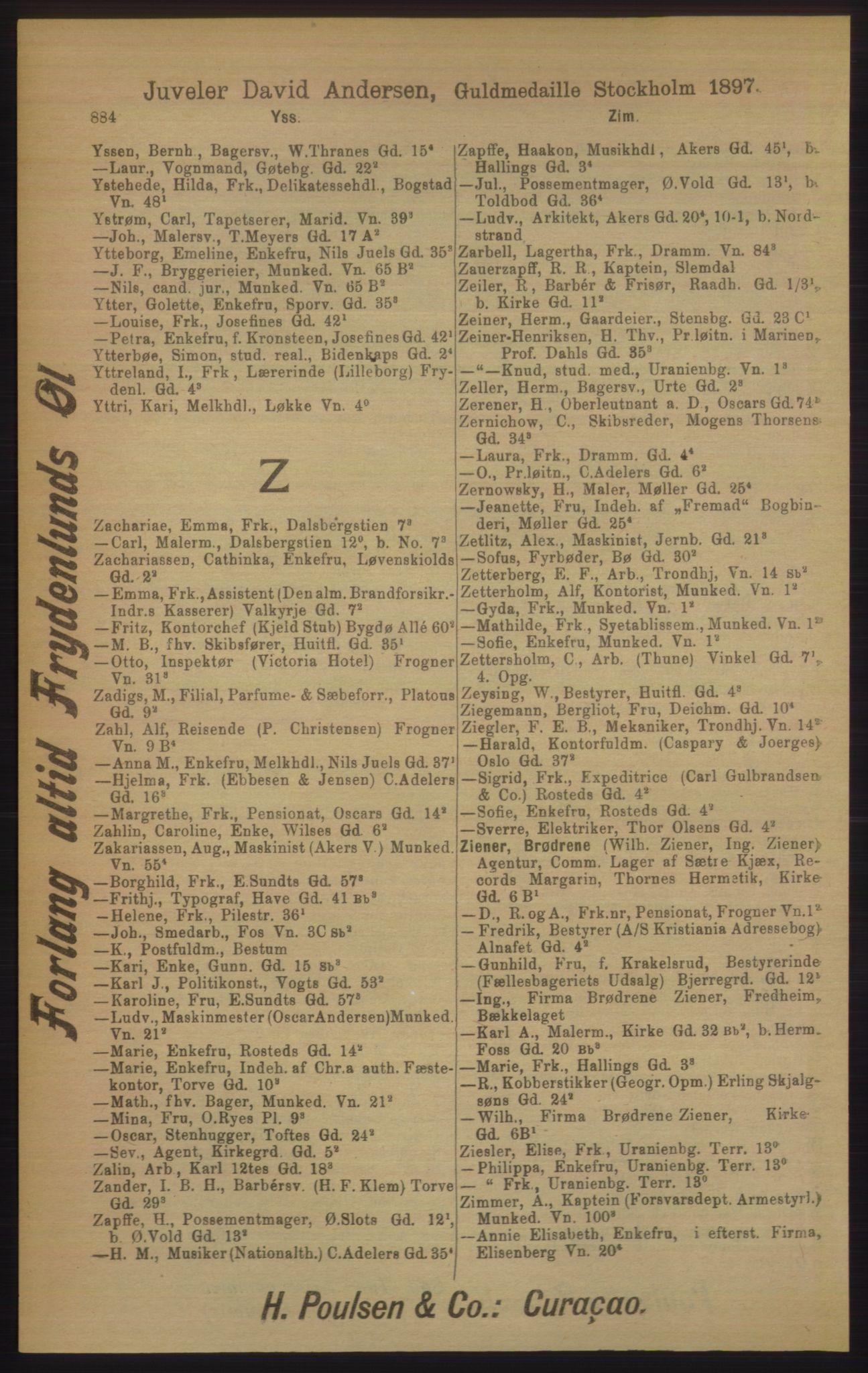 RA, Kristiania adressebok (publikasjon)*, 1906, s. 884