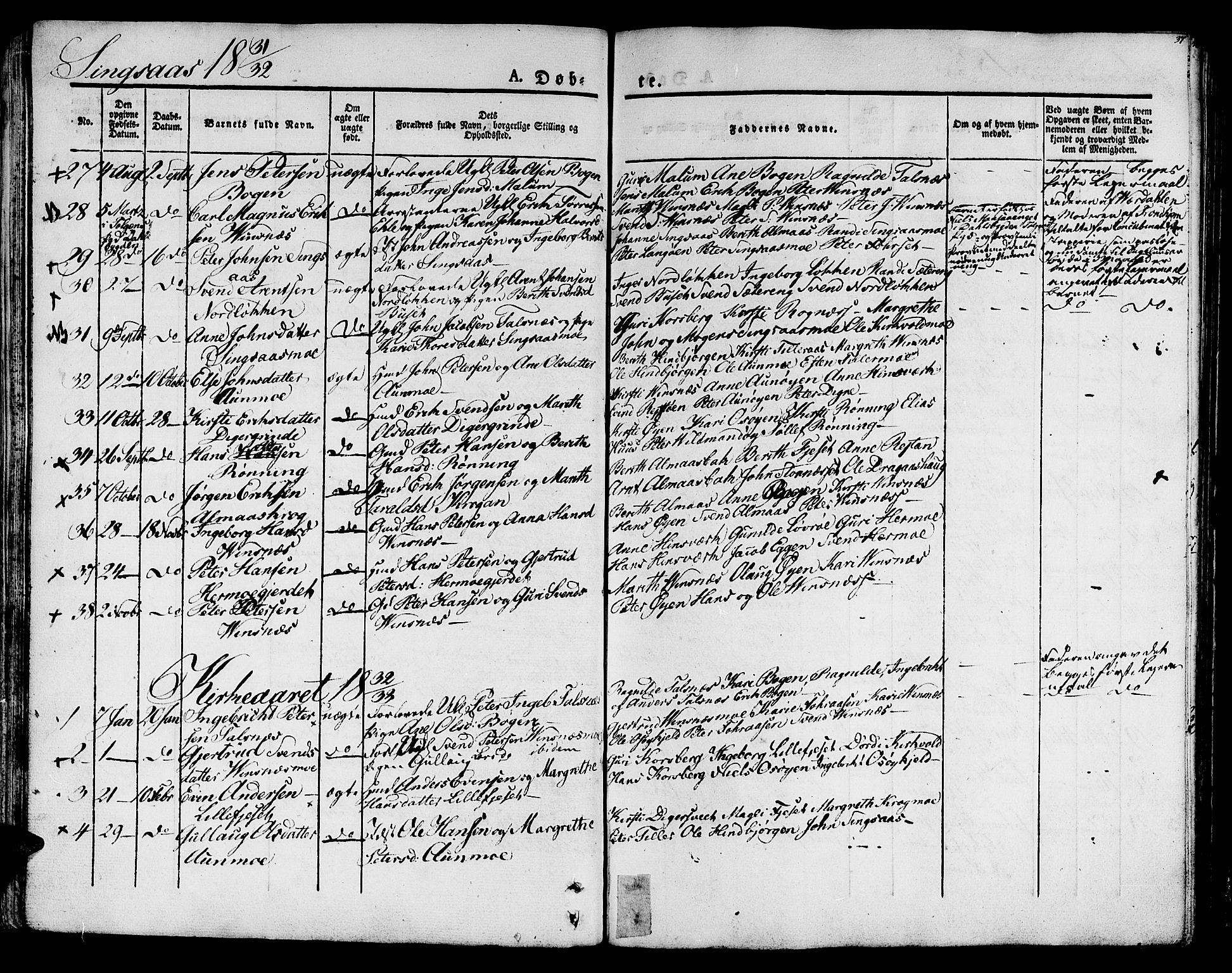 SAT, Ministerialprotokoller, klokkerbøker og fødselsregistre - Sør-Trøndelag, 685/L0958: Ministerialbok nr. 685A04 /2, 1829-1845, s. 37