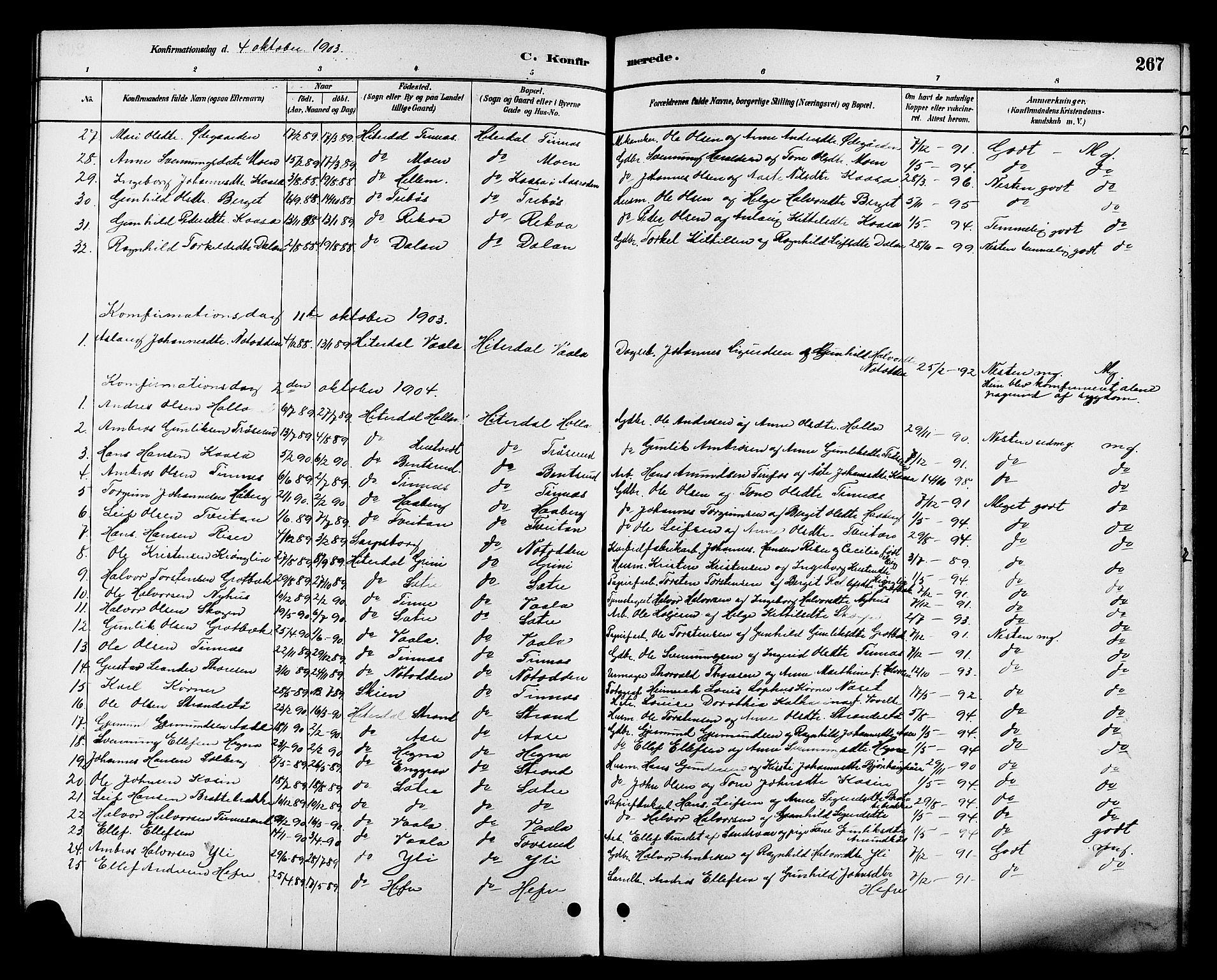 SAKO, Heddal kirkebøker, G/Ga/L0002: Klokkerbok nr. I 2, 1879-1908, s. 267