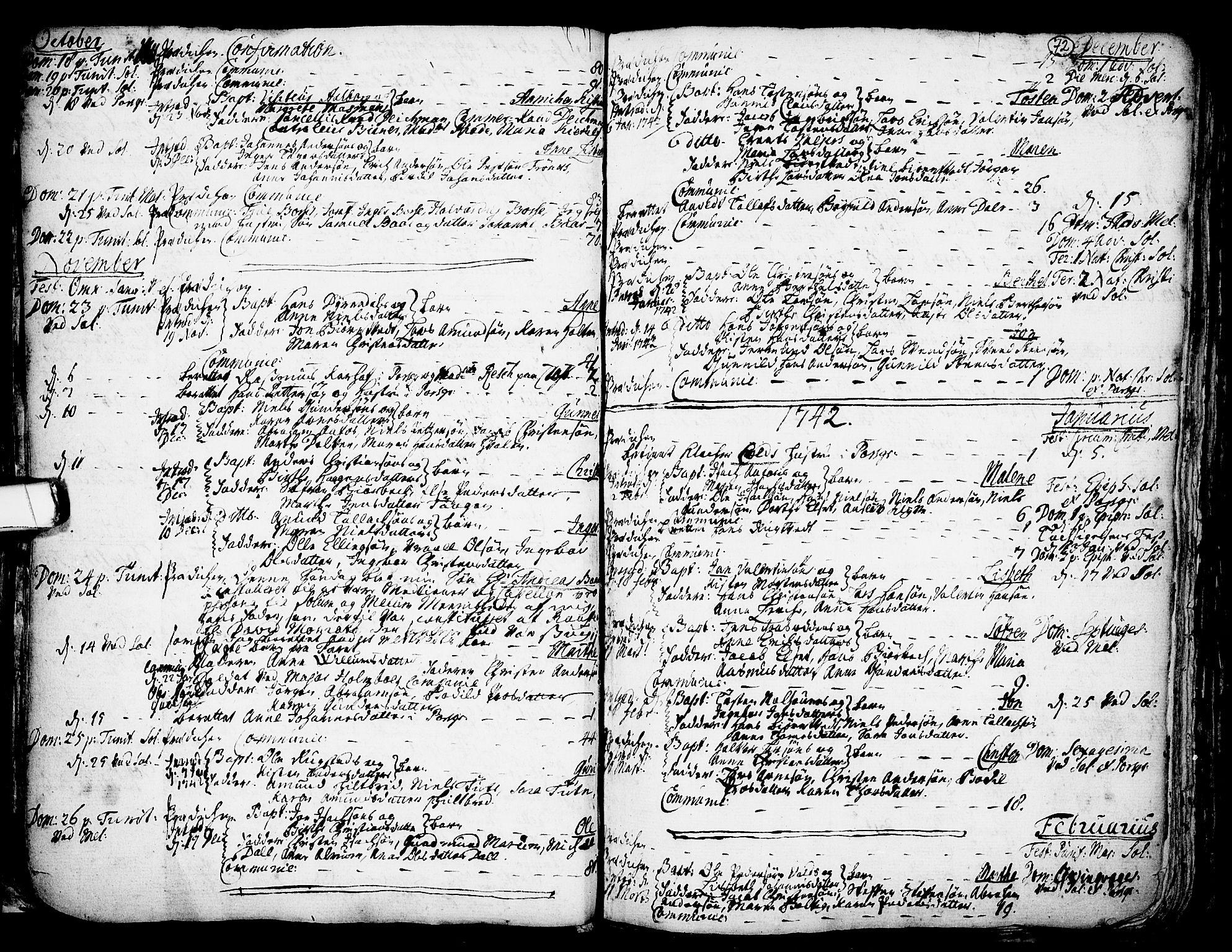 SAKO, Solum kirkebøker, F/Fa/L0002: Ministerialbok nr. I 2, 1713-1761, s. 72