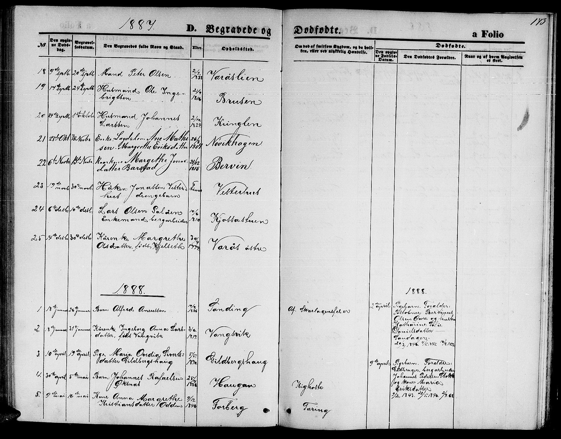 SAT, Ministerialprotokoller, klokkerbøker og fødselsregistre - Nord-Trøndelag, 722/L0225: Klokkerbok nr. 722C01, 1871-1888, s. 173