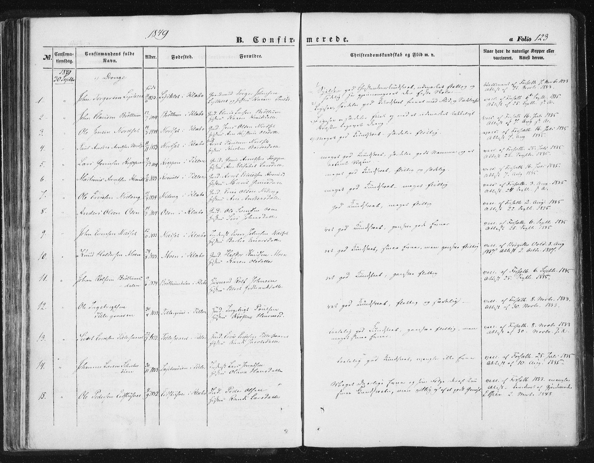 SAT, Ministerialprotokoller, klokkerbøker og fødselsregistre - Sør-Trøndelag, 618/L0441: Ministerialbok nr. 618A05, 1843-1862, s. 123