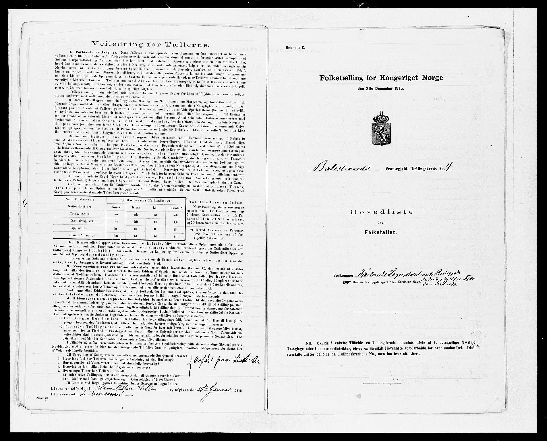 SAB, Folketelling 1875 for 1418P Balestrand prestegjeld, 1875, s. 12