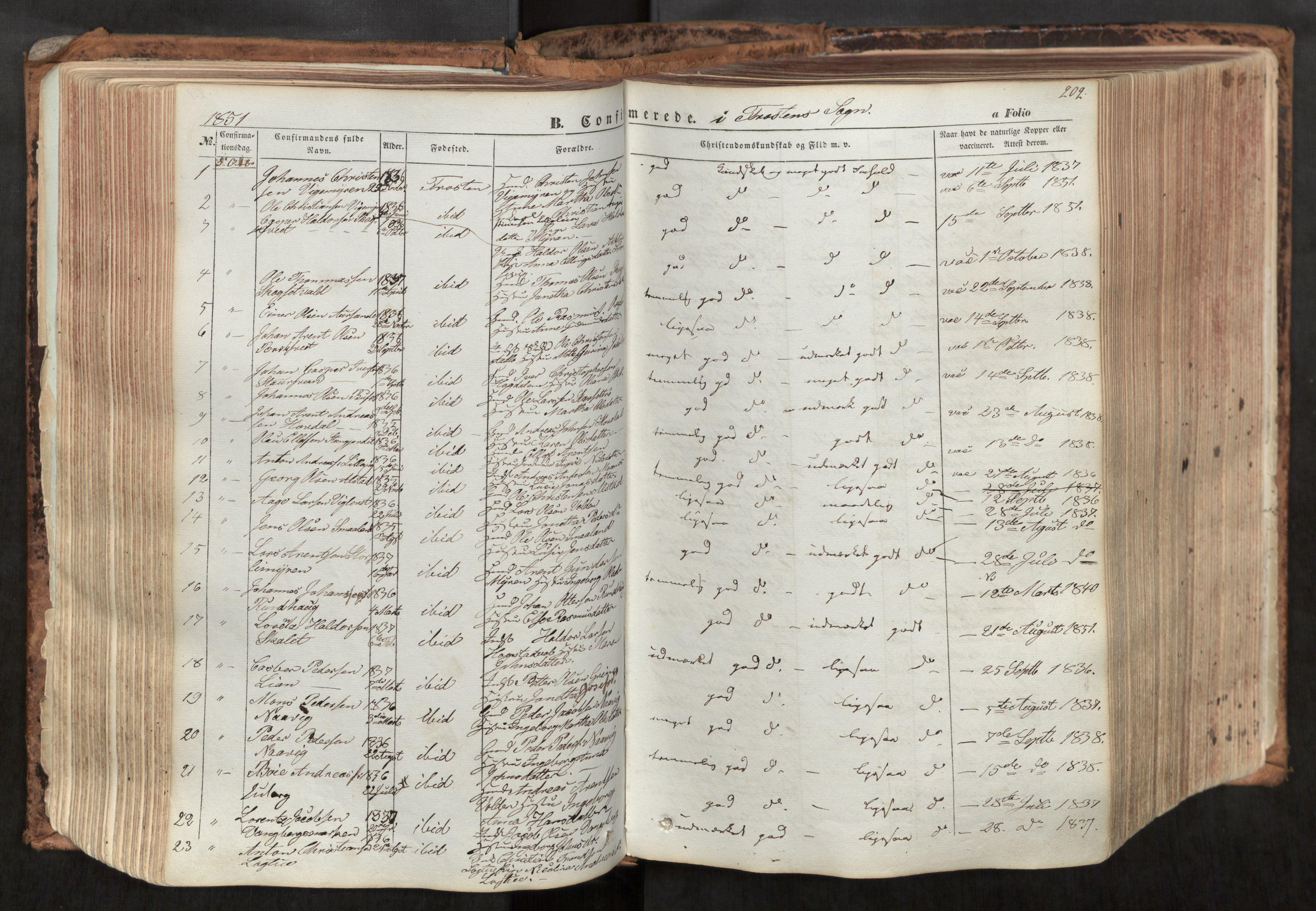 SAT, Ministerialprotokoller, klokkerbøker og fødselsregistre - Nord-Trøndelag, 713/L0116: Ministerialbok nr. 713A07, 1850-1877, s. 202