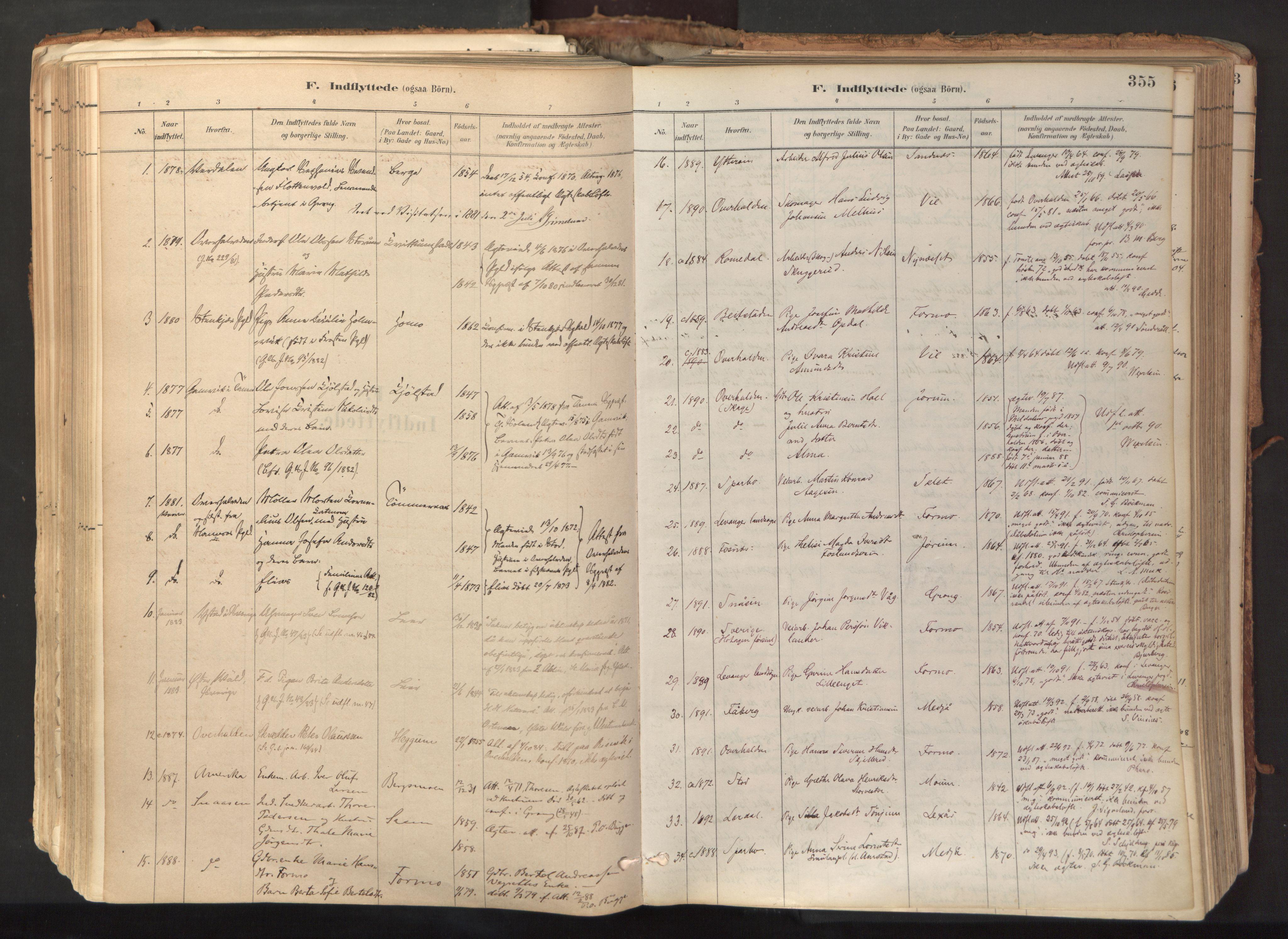 SAT, Ministerialprotokoller, klokkerbøker og fødselsregistre - Nord-Trøndelag, 758/L0519: Ministerialbok nr. 758A04, 1880-1926, s. 355