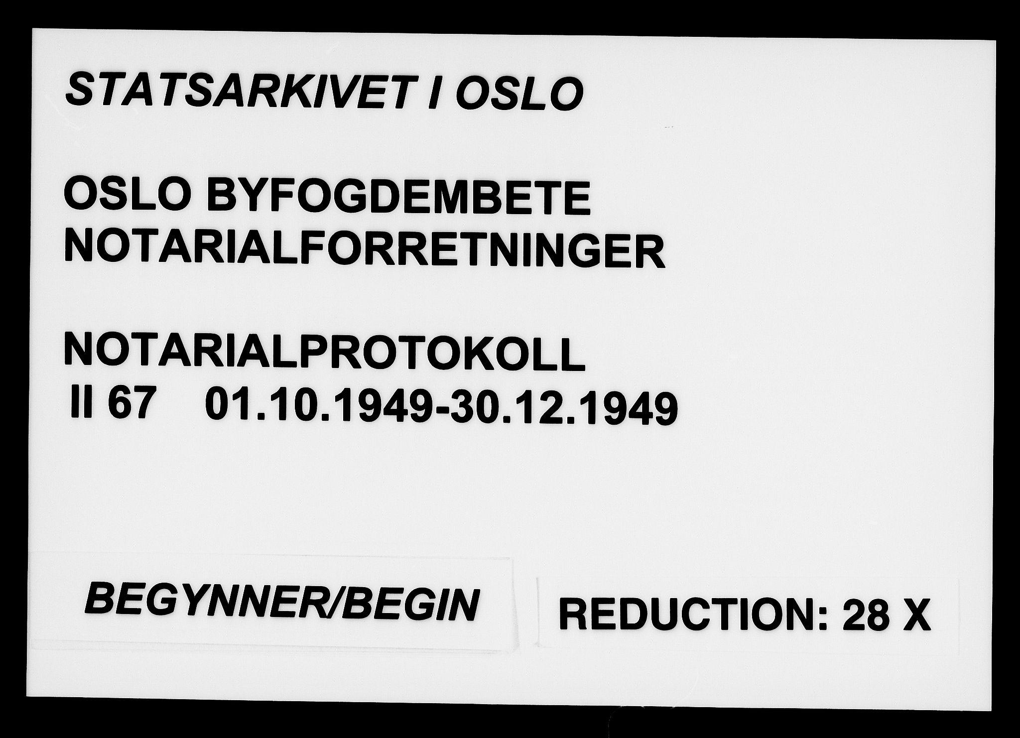 SAO, Oslo byfogd avd. I, L/Lb/Lbb/L0067: Notarialprotokoll, rekke II: Vigsler, 1949, s. upaginert