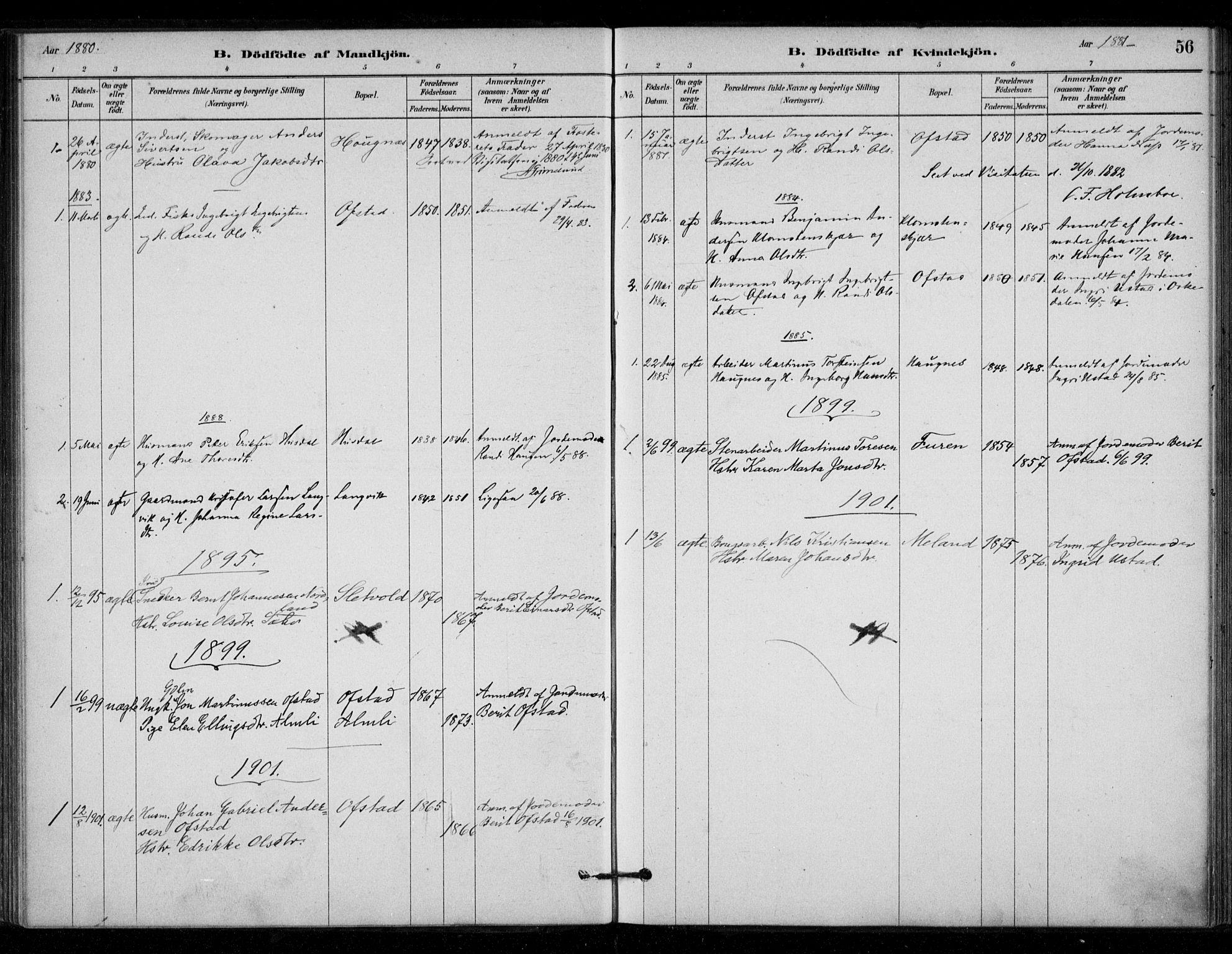 SAT, Ministerialprotokoller, klokkerbøker og fødselsregistre - Sør-Trøndelag, 670/L0836: Ministerialbok nr. 670A01, 1879-1904, s. 56