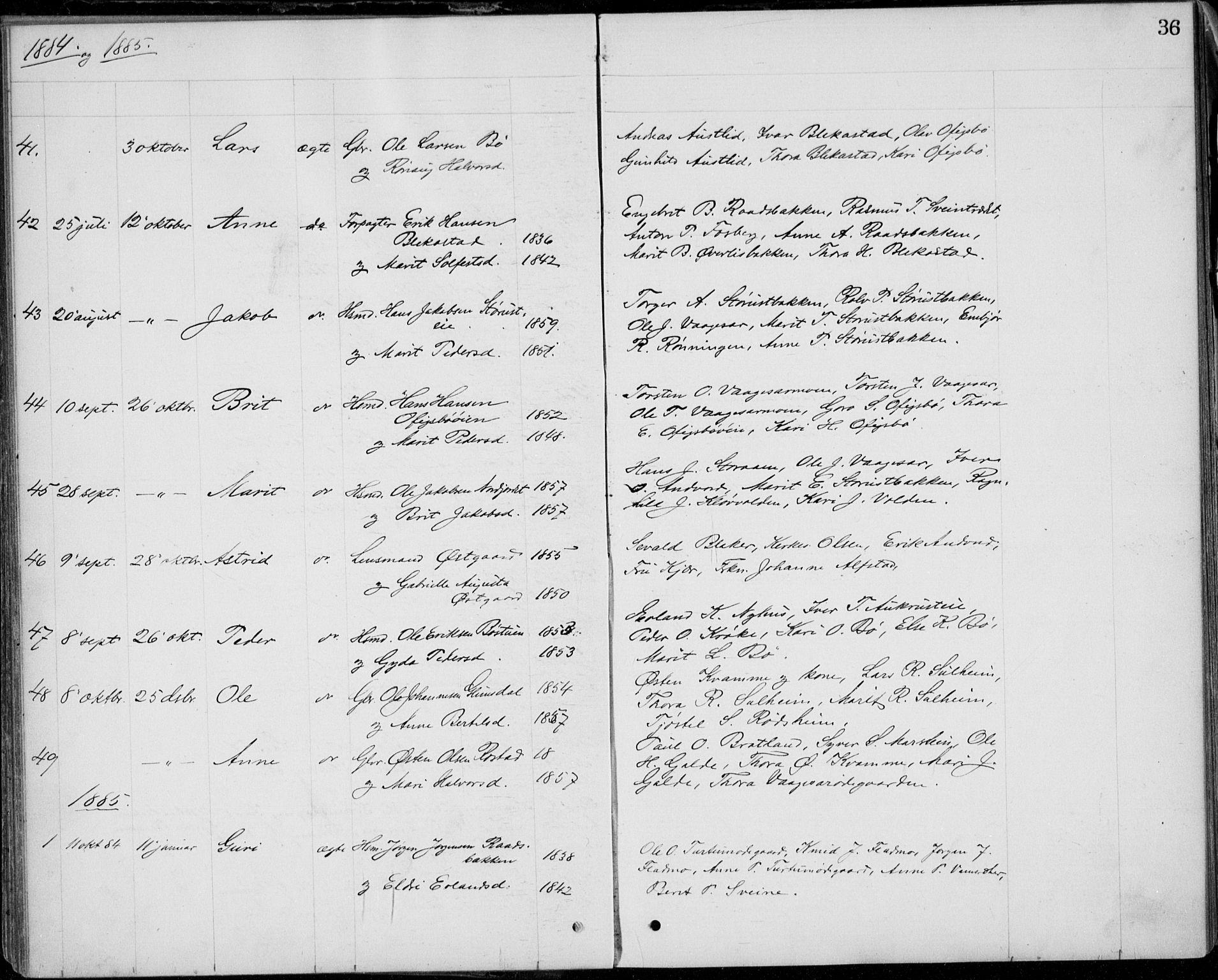 SAH, Lom prestekontor, L/L0013: Klokkerbok nr. 13, 1874-1938, s. 36