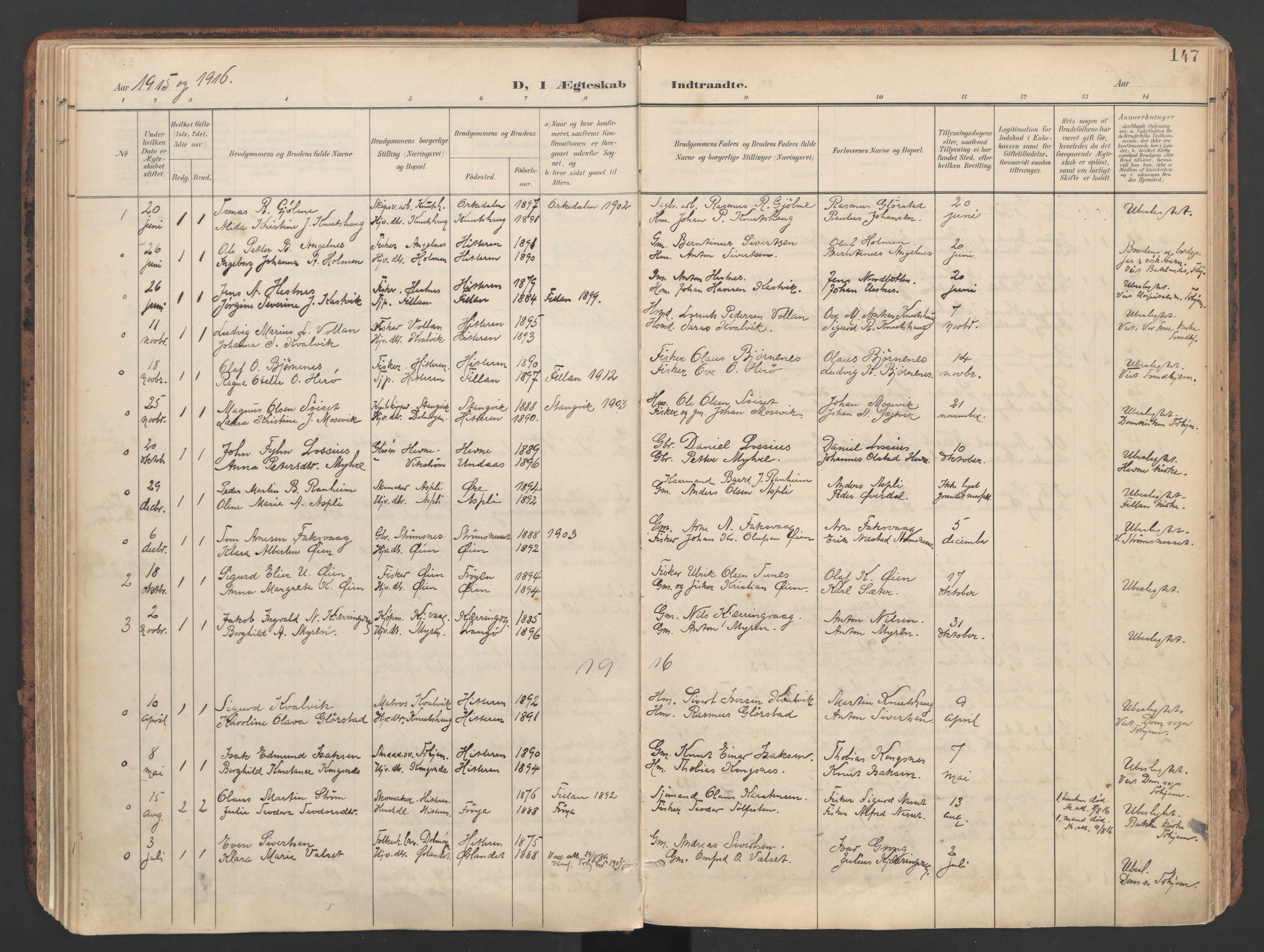 SAT, Ministerialprotokoller, klokkerbøker og fødselsregistre - Sør-Trøndelag, 634/L0537: Ministerialbok nr. 634A13, 1896-1922, s. 147