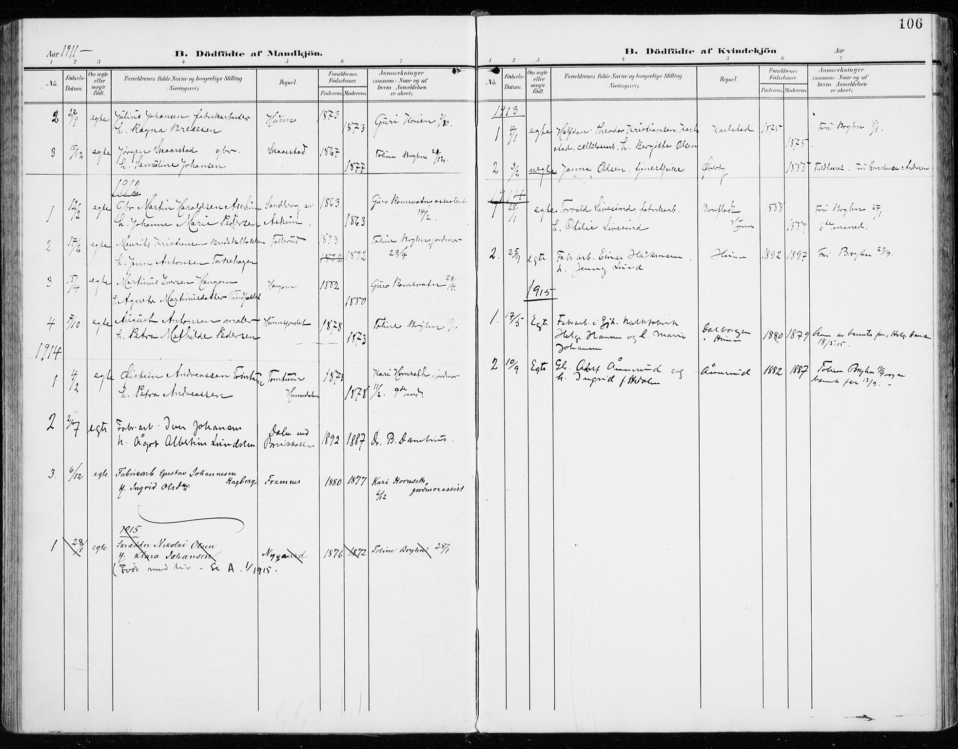 SAH, Vardal prestekontor, H/Ha/Haa/L0016: Ministerialbok nr. 16, 1904-1916, s. 106