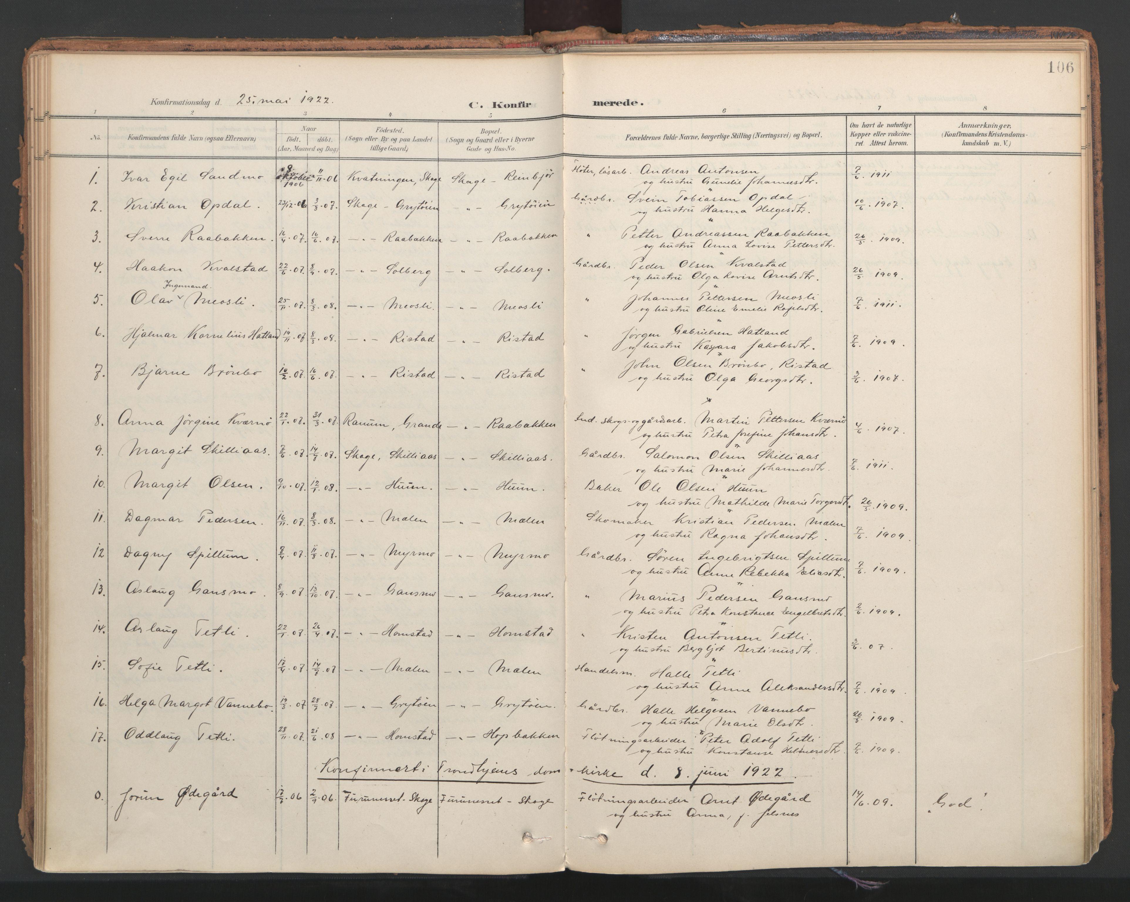 SAT, Ministerialprotokoller, klokkerbøker og fødselsregistre - Nord-Trøndelag, 766/L0564: Ministerialbok nr. 767A02, 1900-1932, s. 106