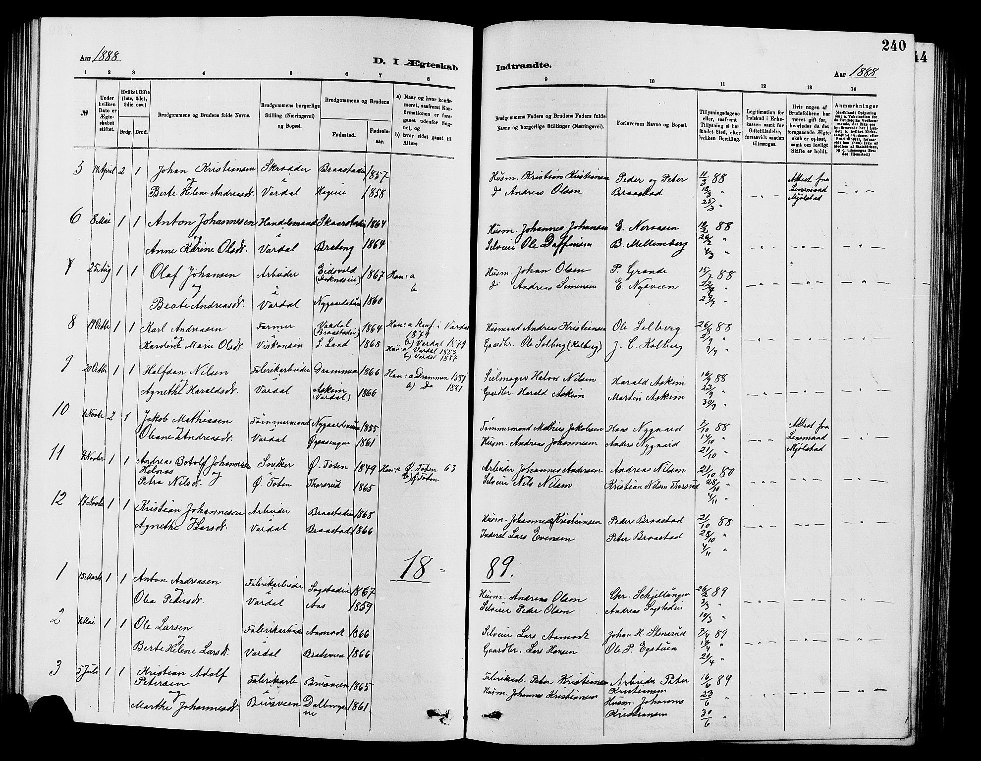 SAH, Vardal prestekontor, H/Ha/Hab/L0007: Klokkerbok nr. 7 /1, 1881-1895, s. 240