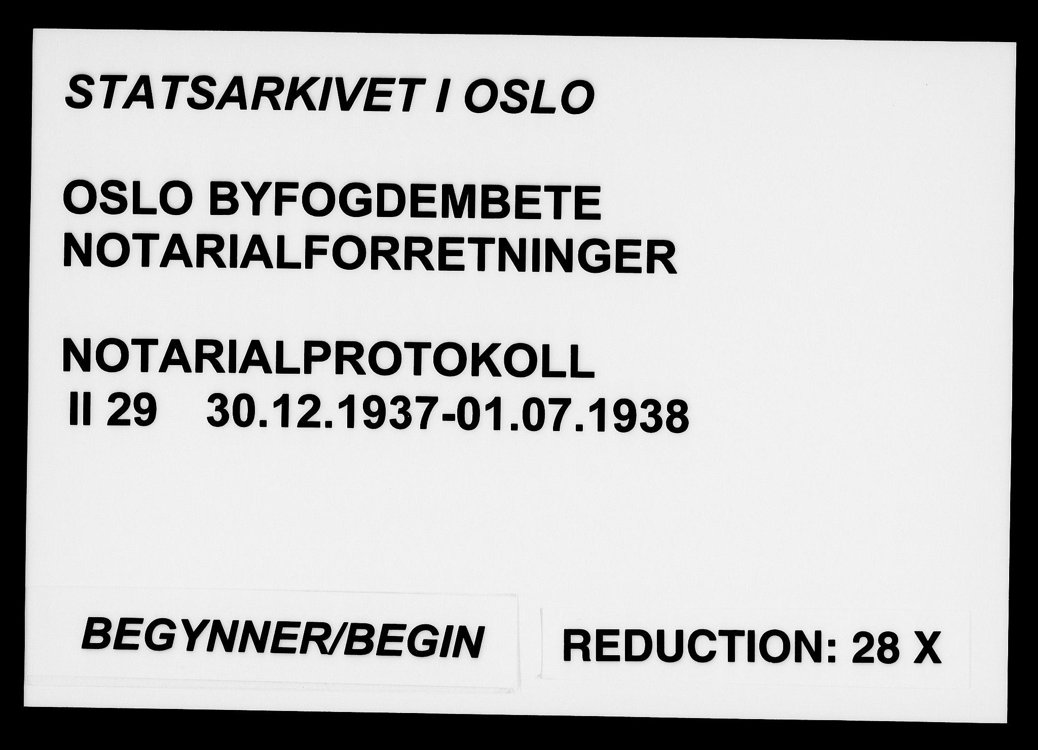 SAO, Oslo byfogd avd. I, L/Lb/Lbb/L0029: Notarialprotokoll, rekke II: Vigsler, 1937-1938, s. upaginert