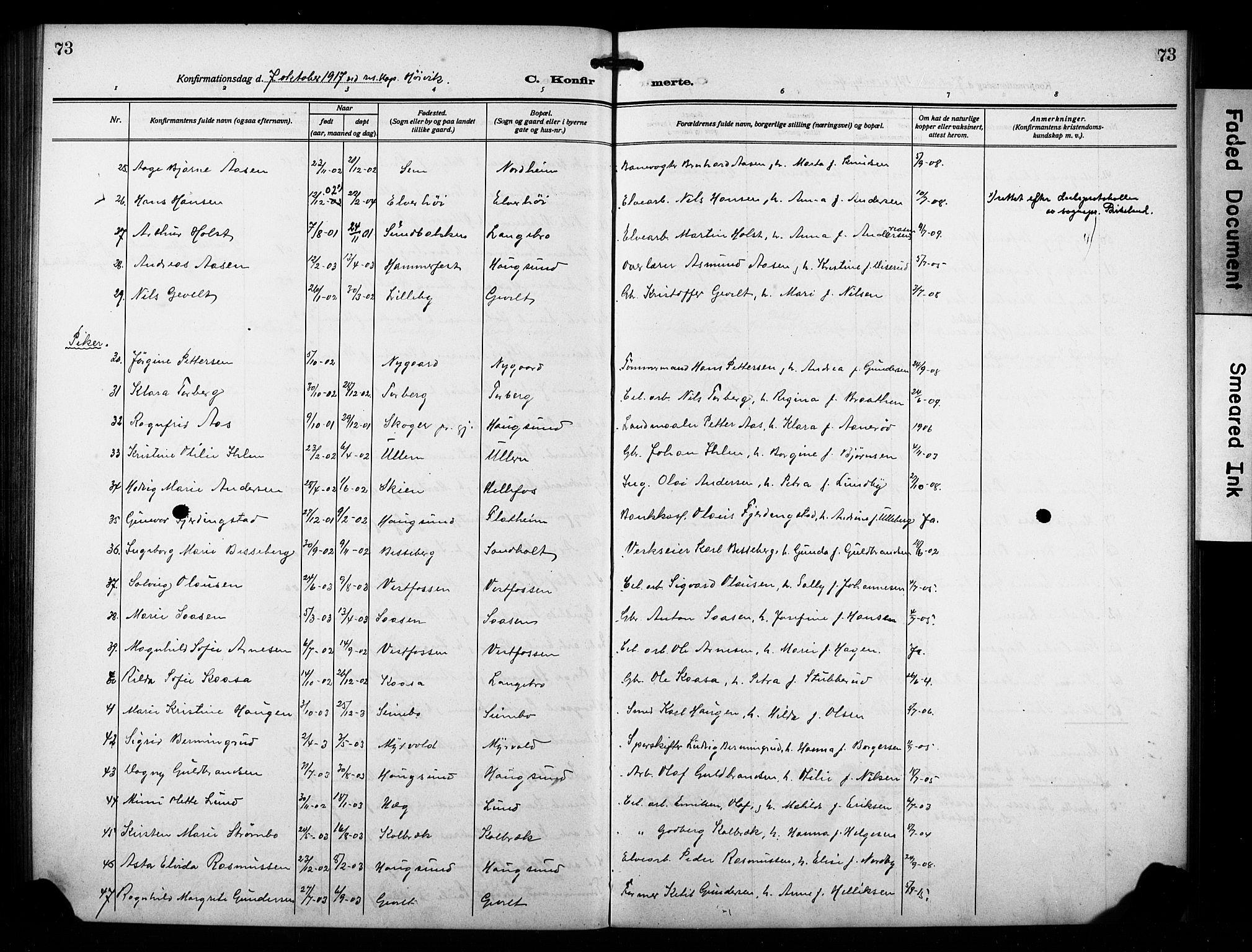 SAKO, Eiker kirkebøker, F/Fb/L0006: Ministerialbok nr. II 6, 1908-1928, s. 73