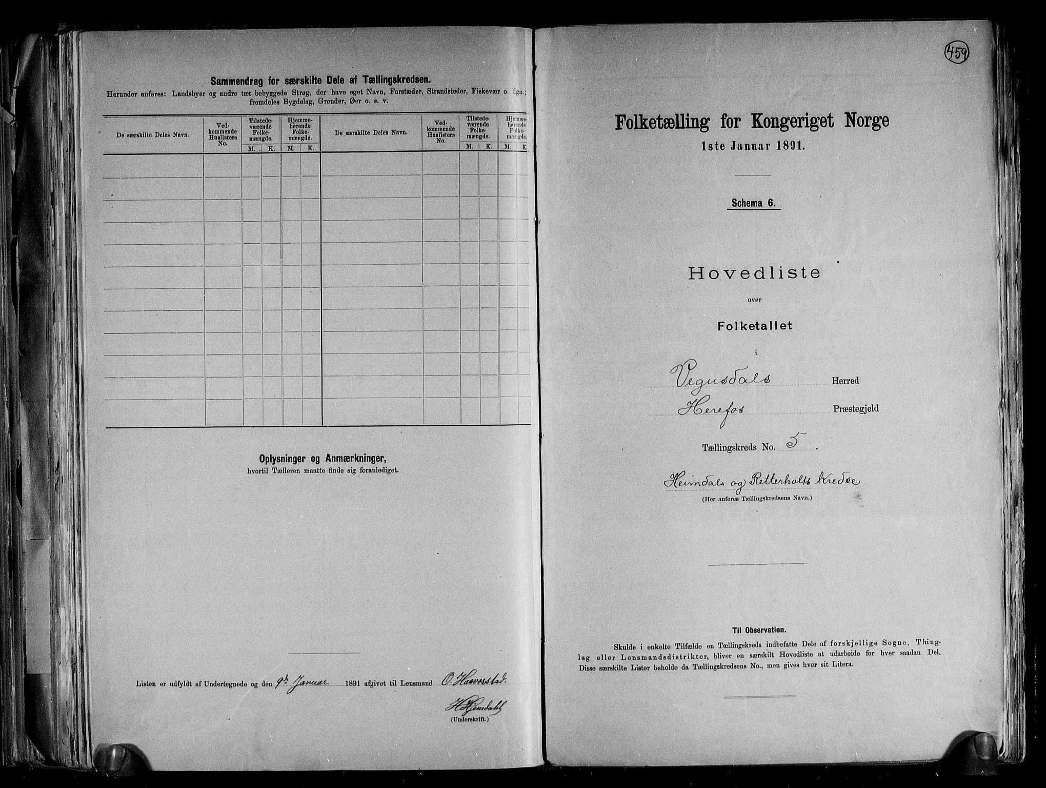 RA, Folketelling 1891 for 0934 Vegusdal herred, 1891, s. 13