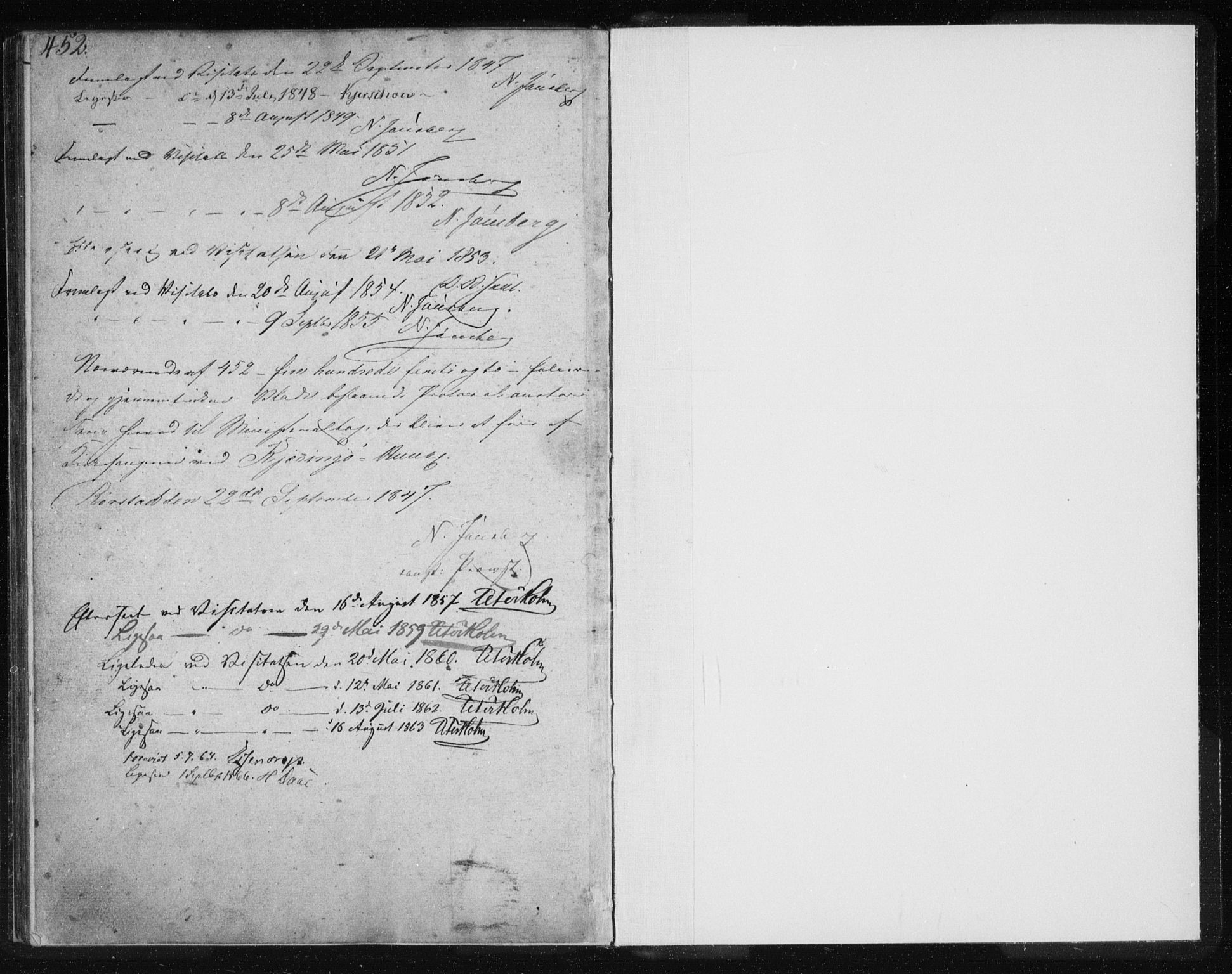 SAT, Ministerialprotokoller, klokkerbøker og fødselsregistre - Nordland, 803/L0074: Klokkerbok nr. 803C01, 1845-1866, s. 452-453