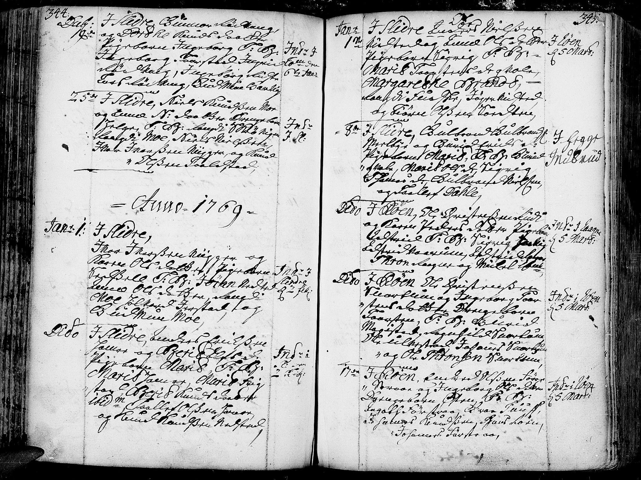 SAH, Slidre prestekontor, Ministerialbok nr. 1, 1724-1814, s. 344-345