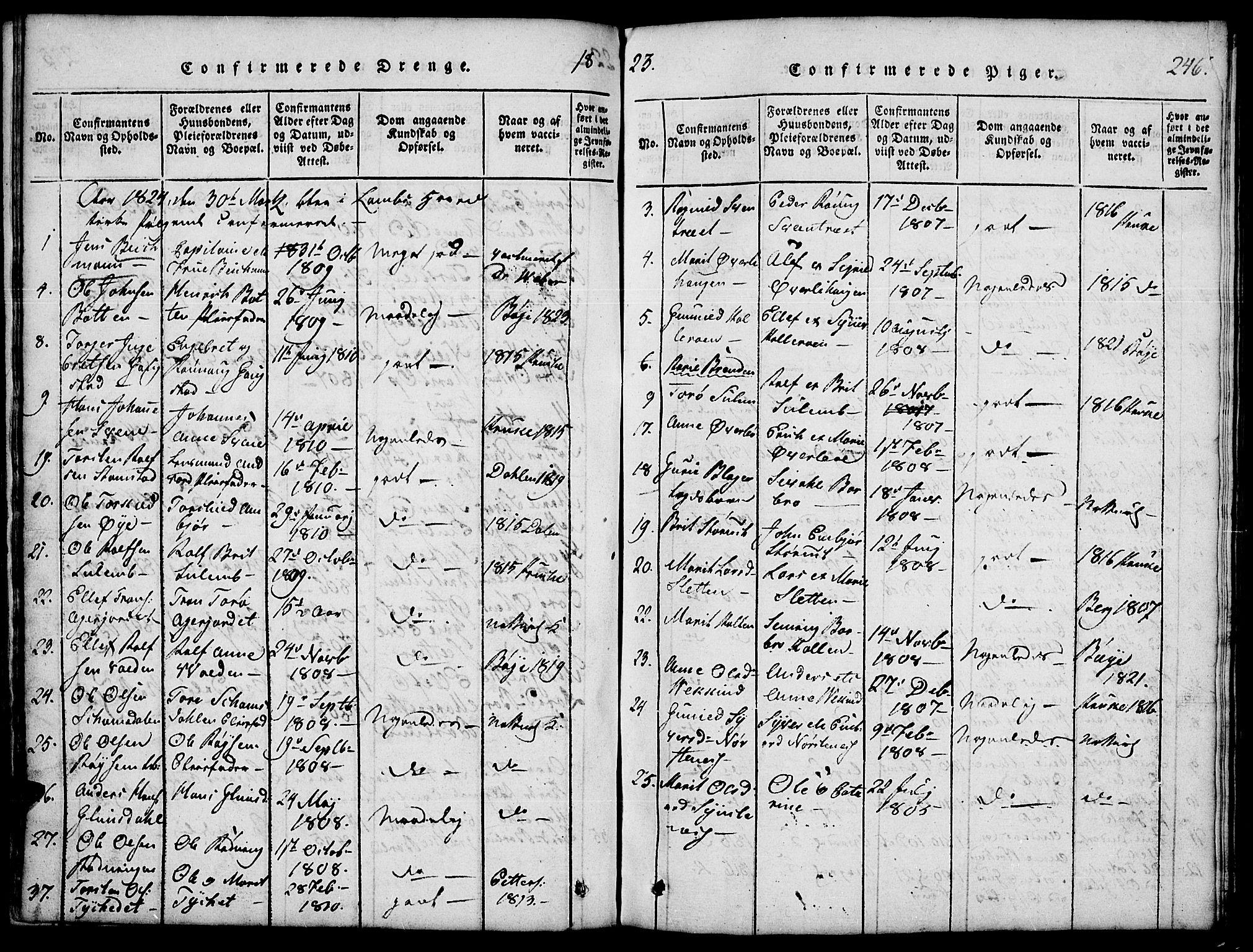 SAH, Lom prestekontor, L/L0001: Klokkerbok nr. 1, 1815-1836, s. 246
