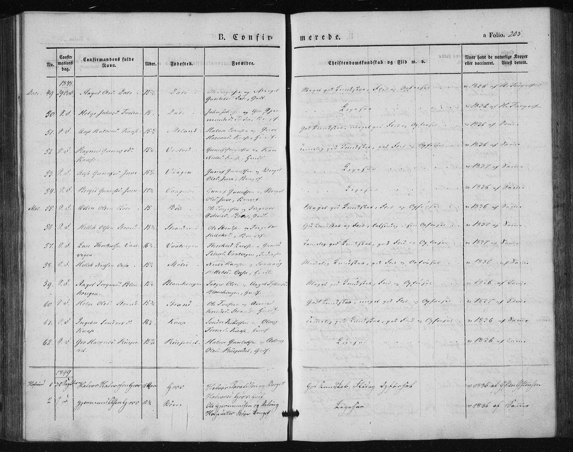 SAKO, Tinn kirkebøker, F/Fa/L0005: Ministerialbok nr. I 5, 1844-1856, s. 205