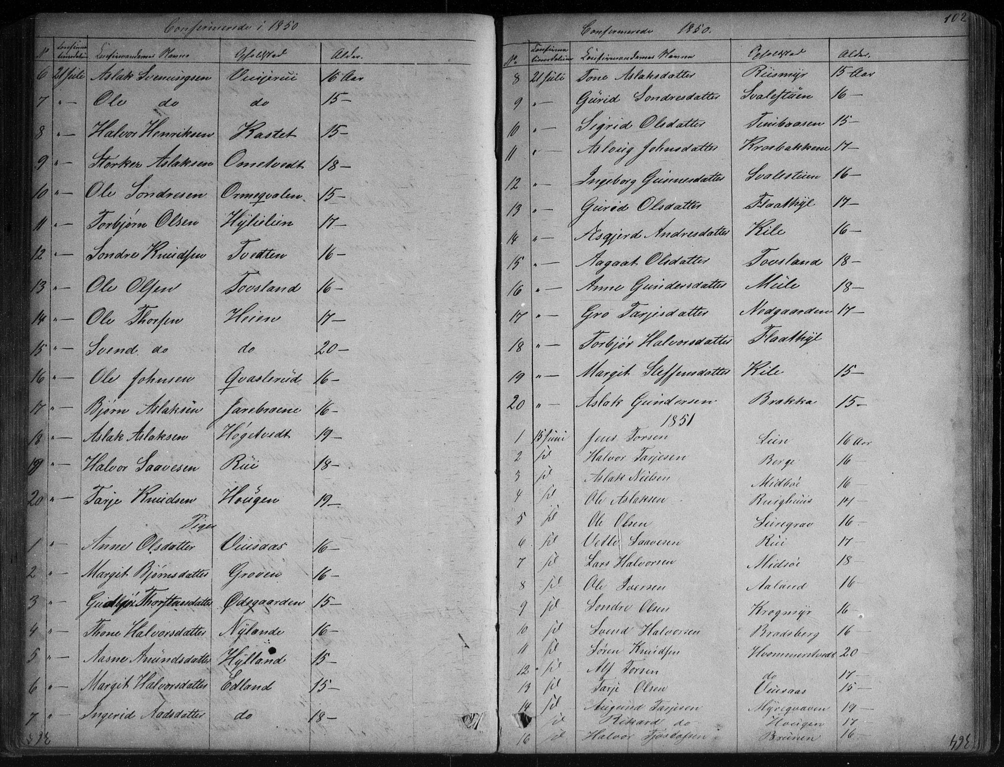 SAKO, Vinje kirkebøker, G/Ga/L0002: Klokkerbok nr. I 2, 1849-1893, s. 102