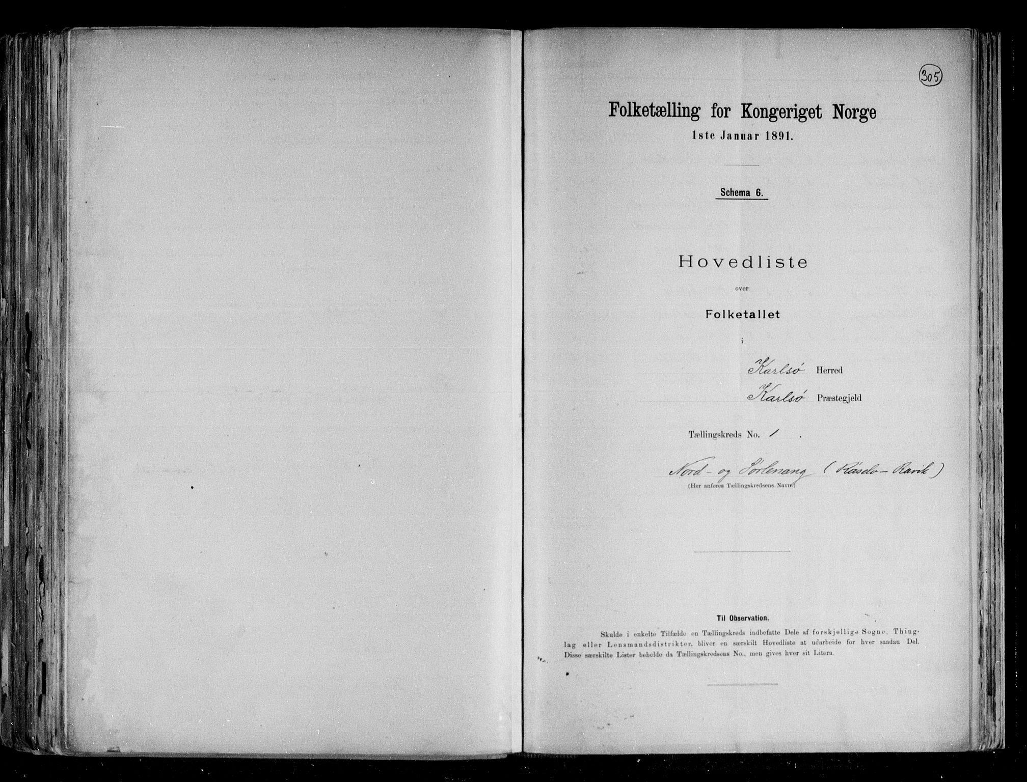 RA, Folketelling 1891 for 1936 Karlsøy herred, 1891, s. 4