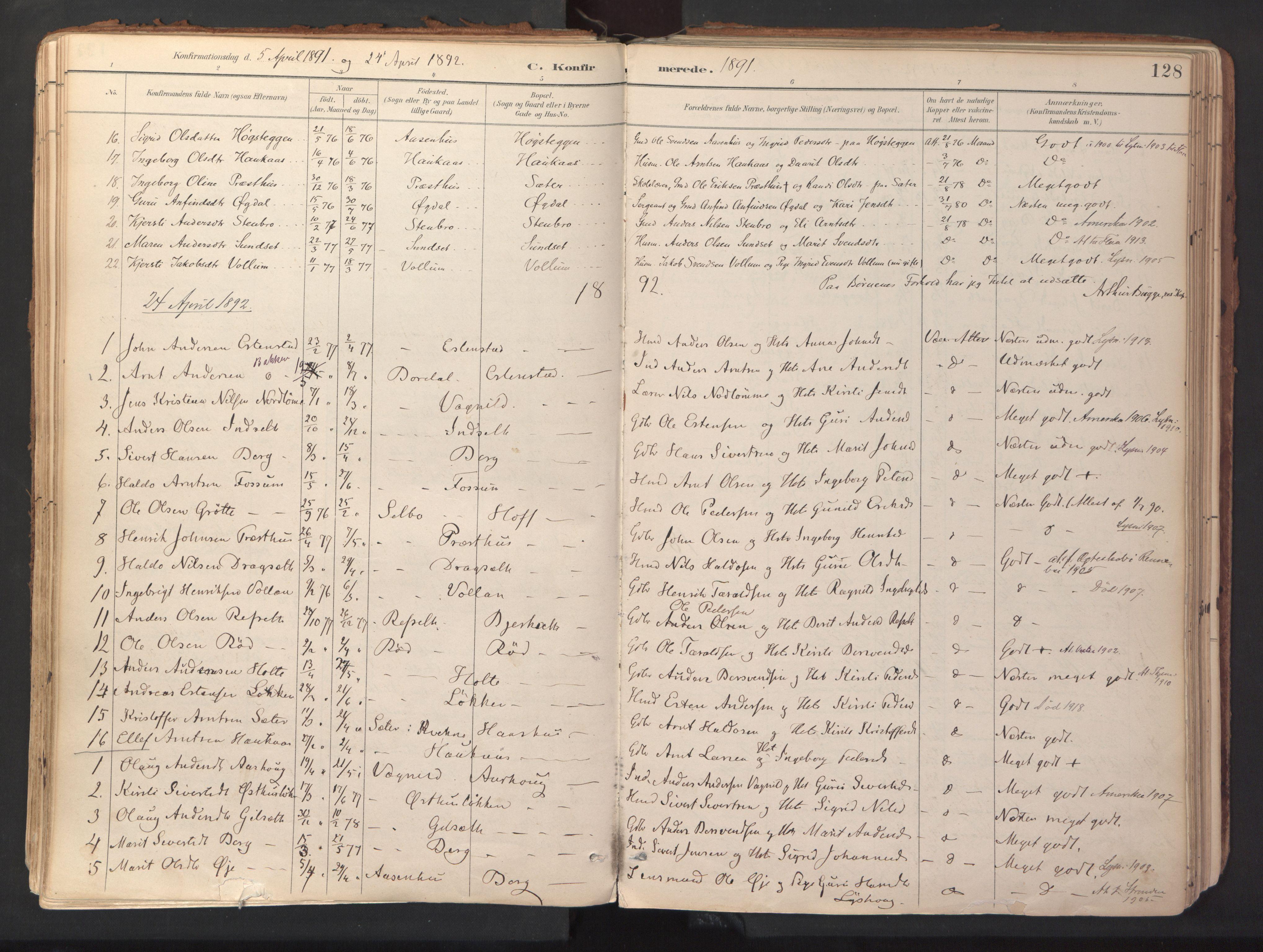 SAT, Ministerialprotokoller, klokkerbøker og fødselsregistre - Sør-Trøndelag, 689/L1041: Ministerialbok nr. 689A06, 1891-1923, s. 128